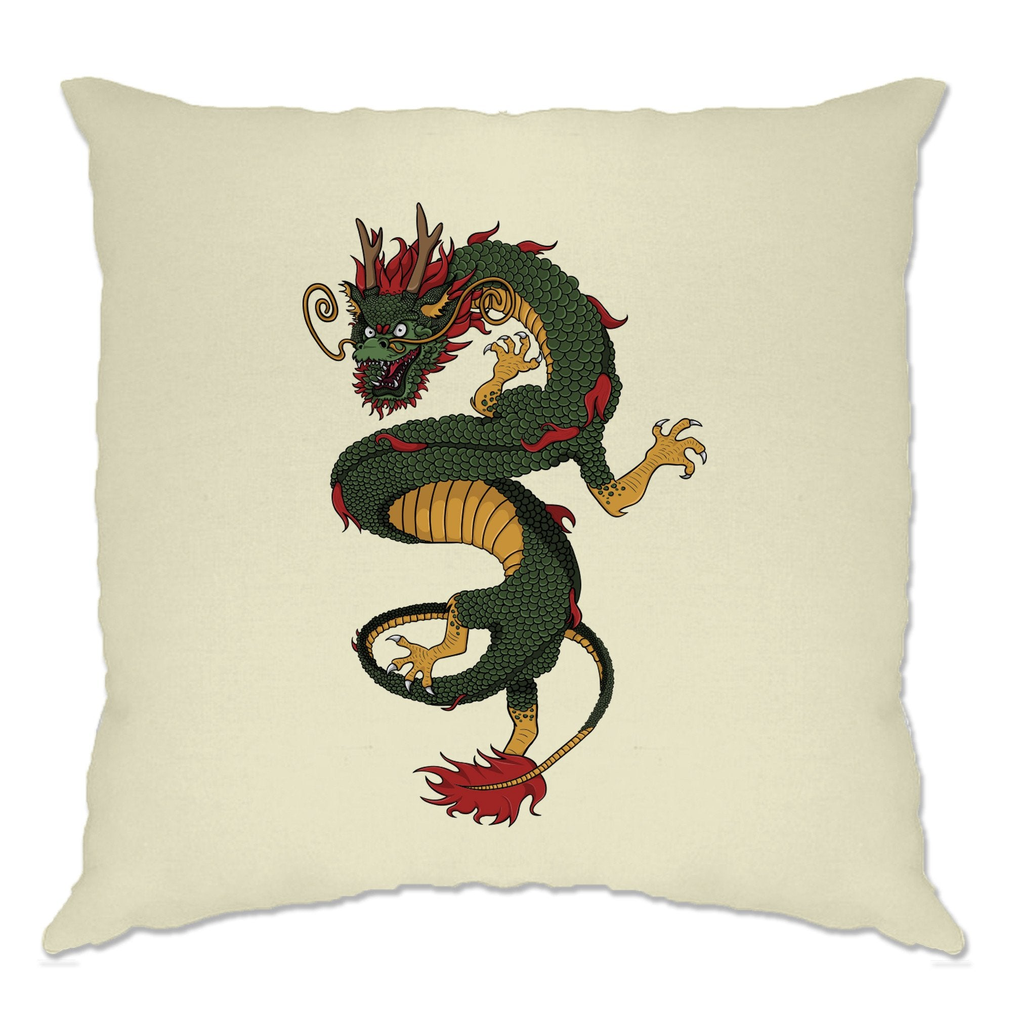 Traditional Chinese Cushion Cover Serpent Dragon Art