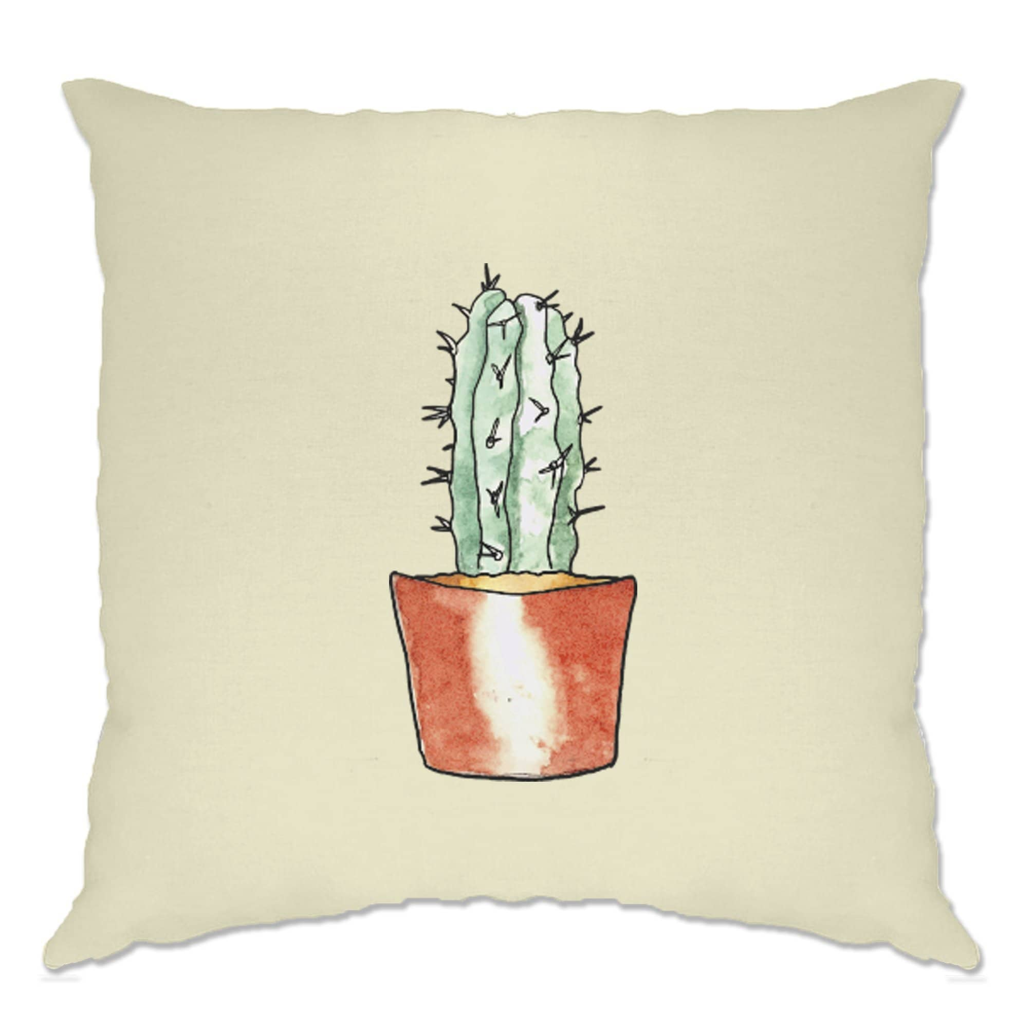 Cute Plant Cushion Cover Drawn Cactus Art Pocket Print