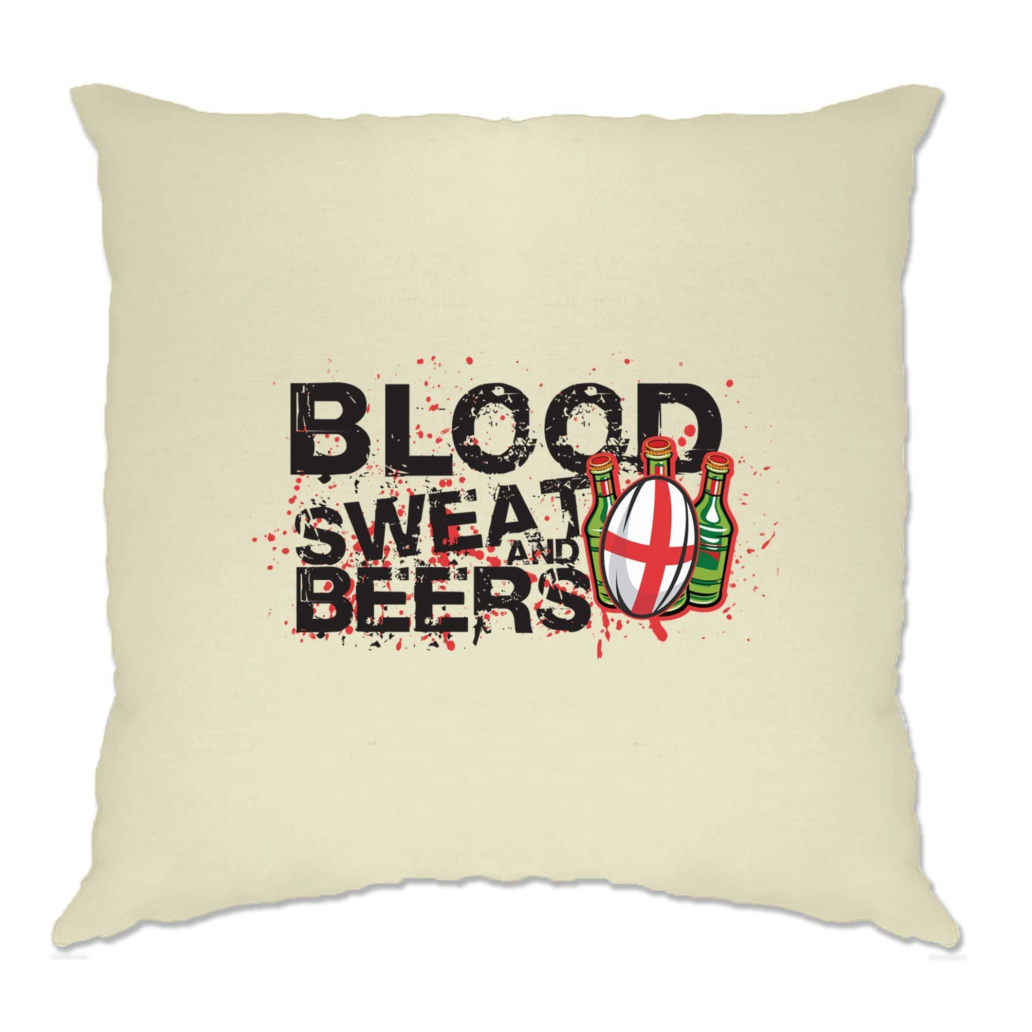 England Rugby Supporter Cushion Cover Blood, Sweat And Beers