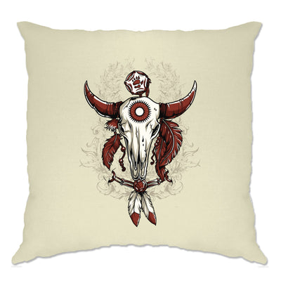 Native American Art Cushion Cover Bull Skull and Feathers