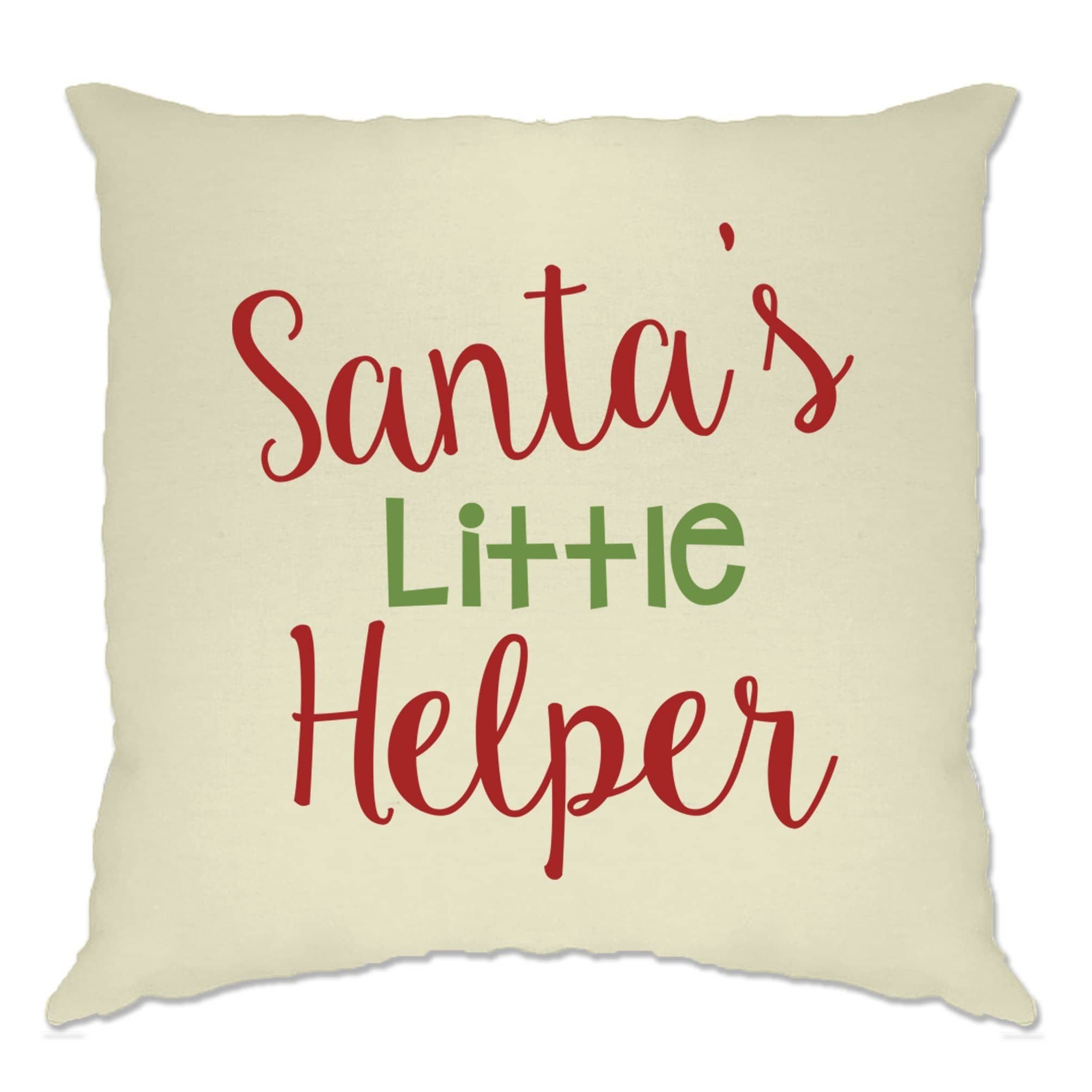 Christmas Cushion Cover Santa's Little Helper Slogan