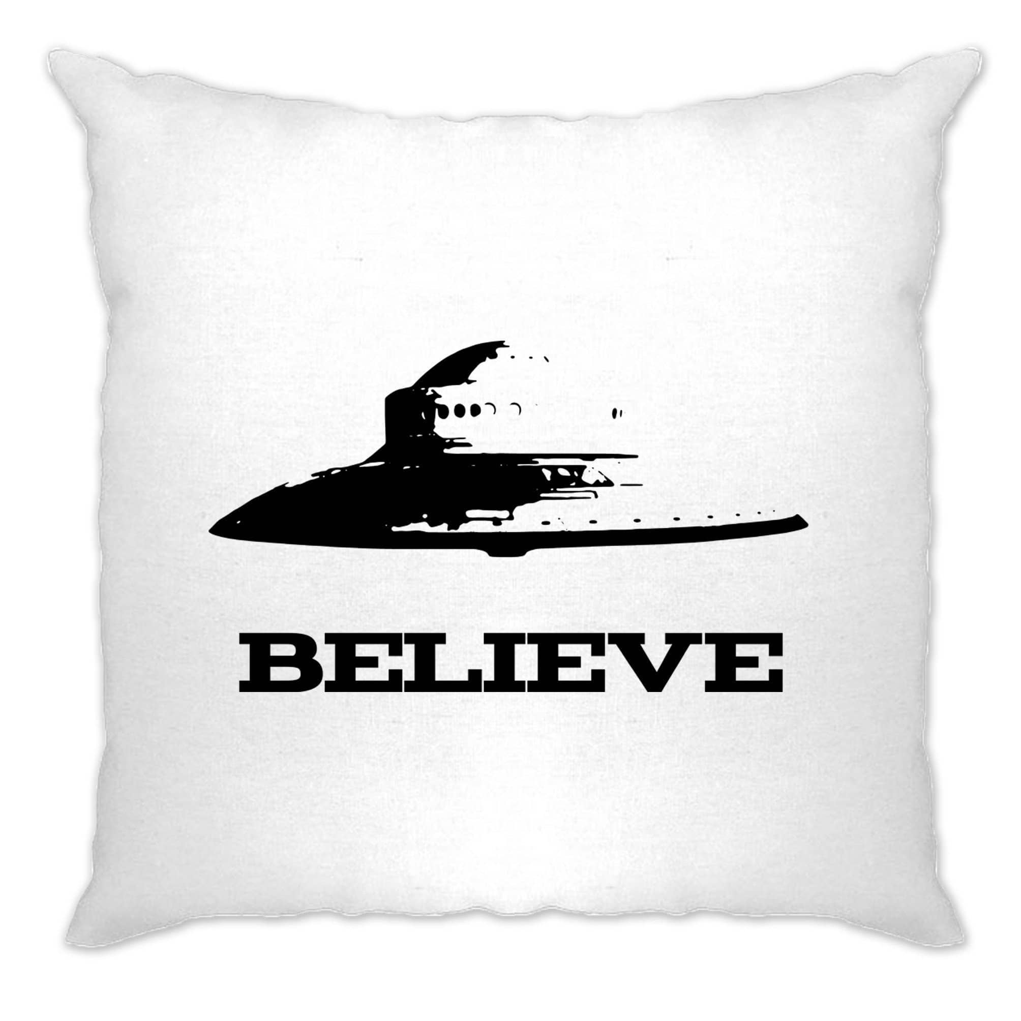 Alien Cushion Cover Believe in UFO Flying Saucers