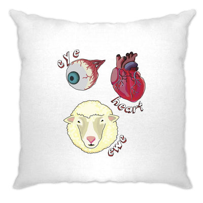 Creepy Cushion Cover Eye Heart Ewe I Heart You Pun