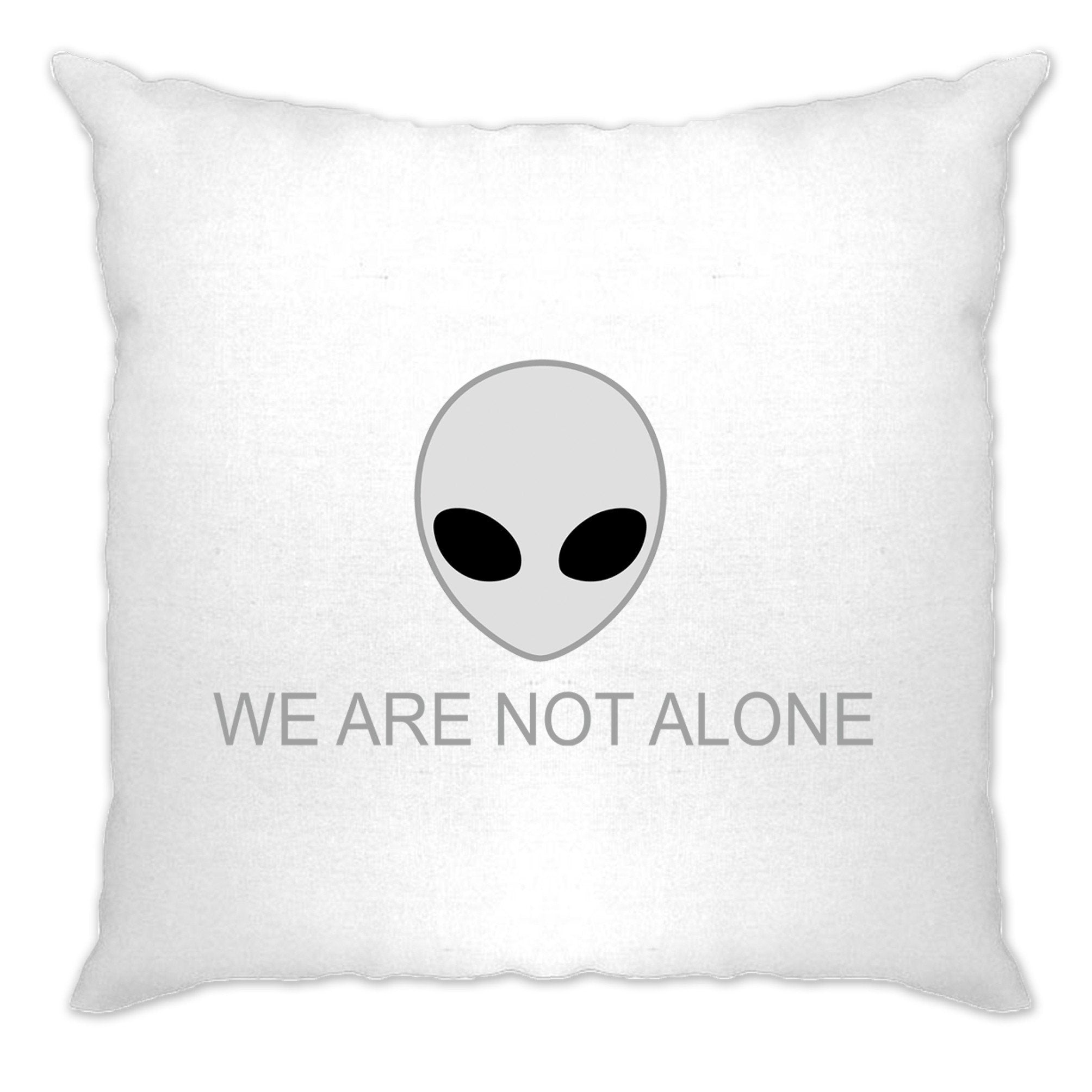 Nerdy Alien Head Cushion Cover We Are Not Alone Slogan