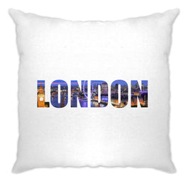Tourist Cushion Cover City Of London At Night Text Cutout