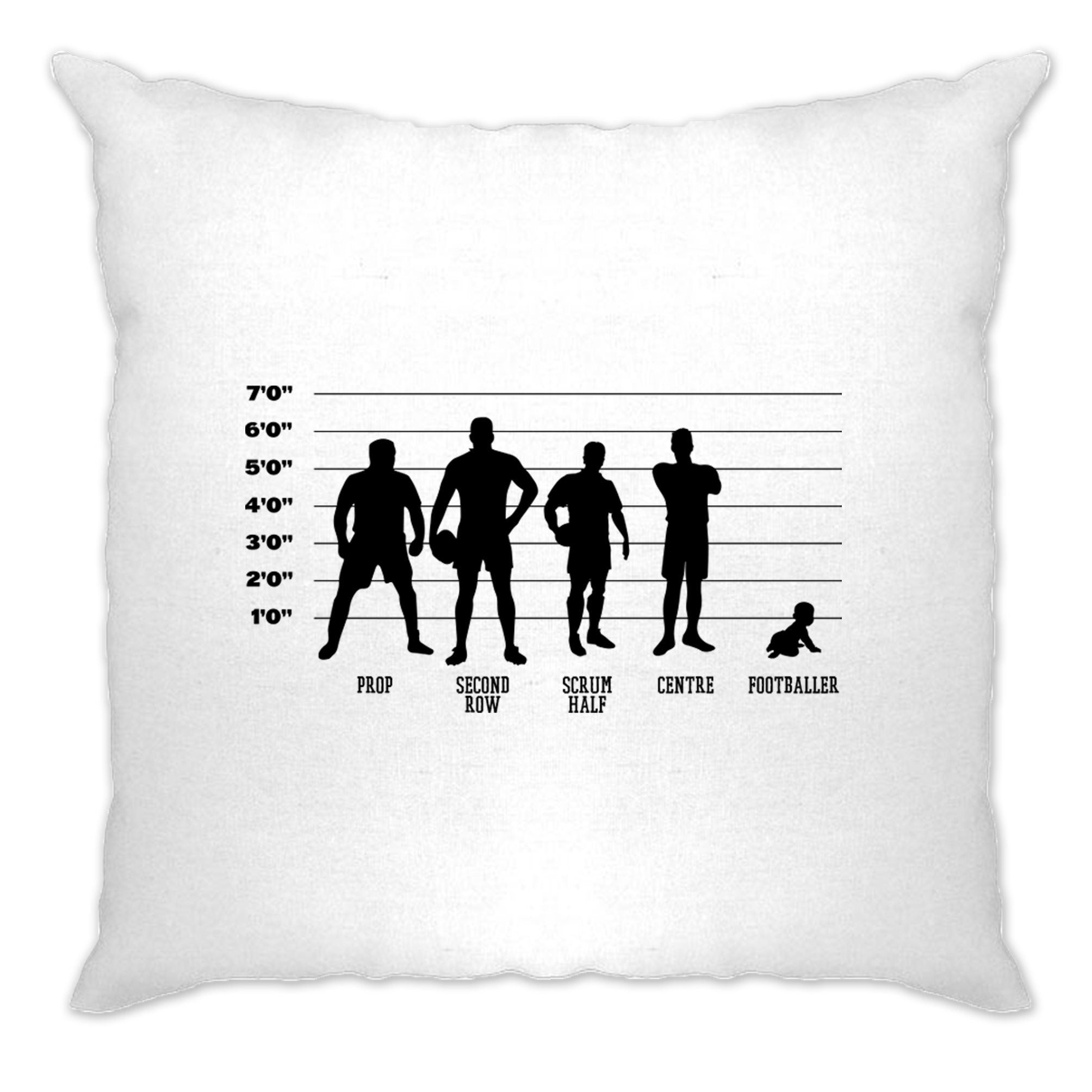 Novelty Sports Cushion Cover Rugby Vs Football Baby Lineup