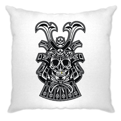 Samurai Art Cushion Cover Skull And Helmet Design