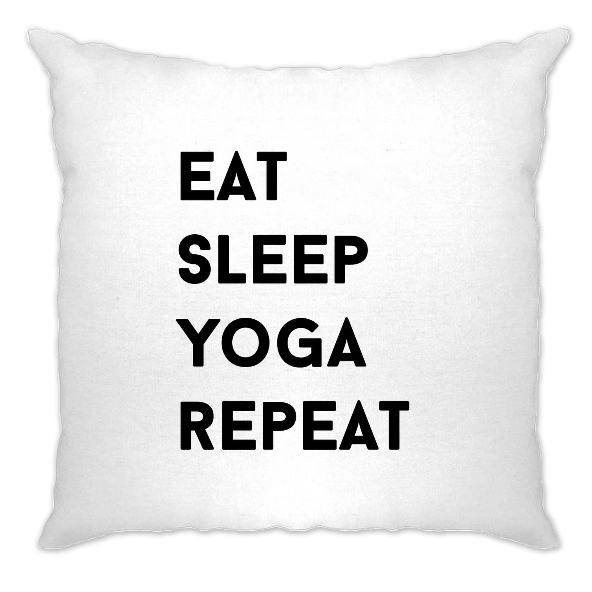 Gym Cushion Cover Eat, Sleep, Yoga, Repeat Slogan