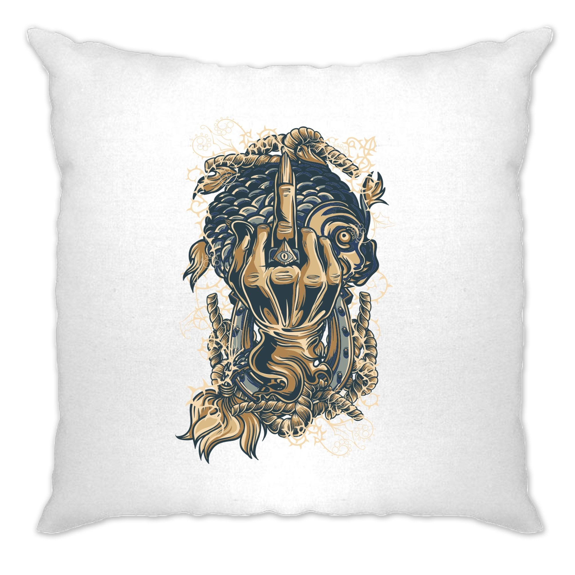 Gothic Sailor Art Cushion Cover Skeleton Swearing Graphic