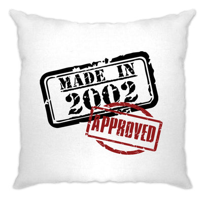 18th Birthday Cushion Cover Distressed Made in 2002 Approved
