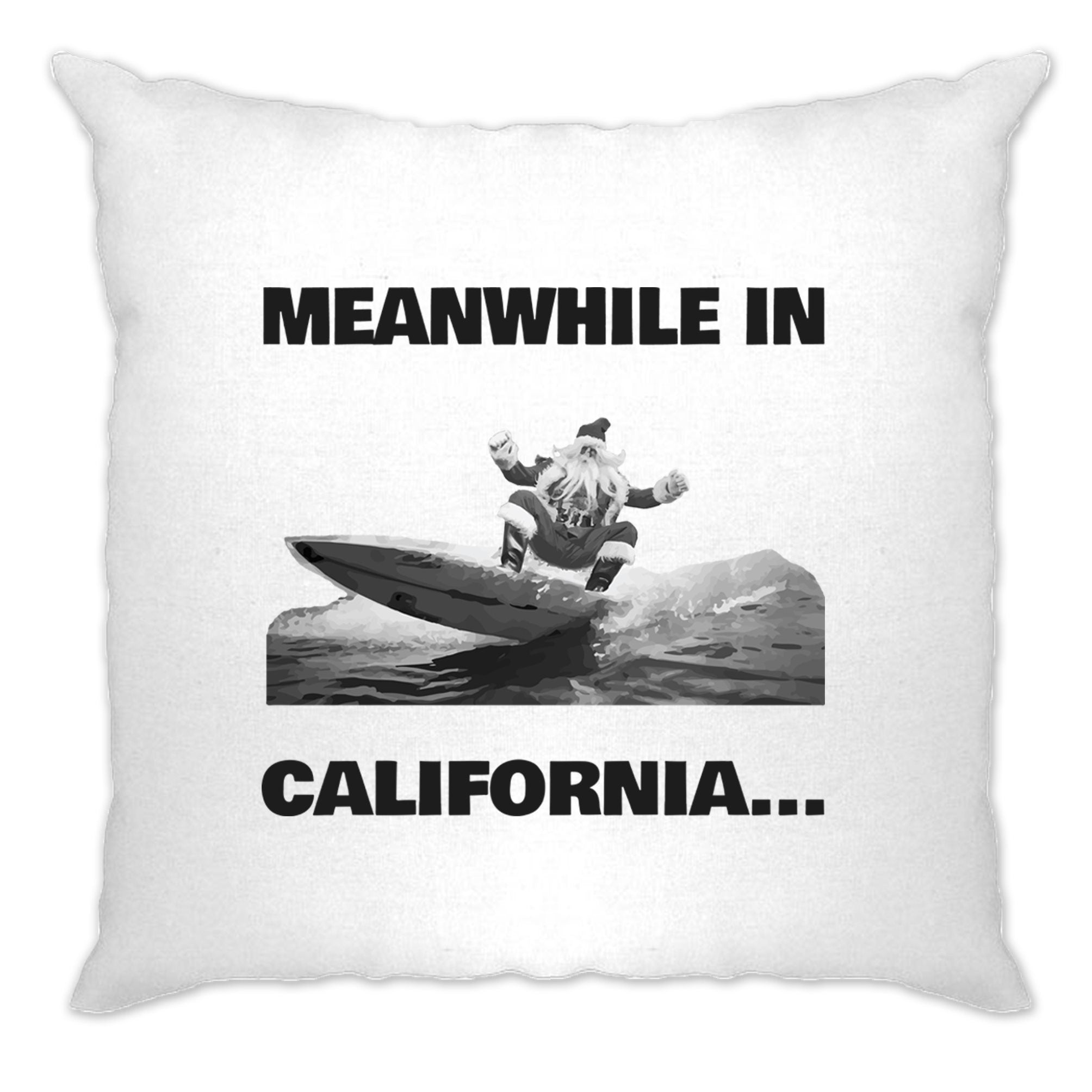 Joke Christmas Cushion Cover Meanwhile in California Santa