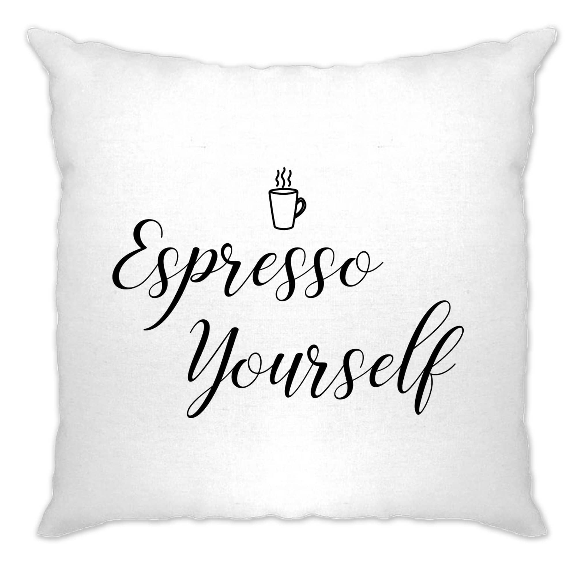 Novelty Coffee Slogan Cushion Cover Expresso Yourself Logo