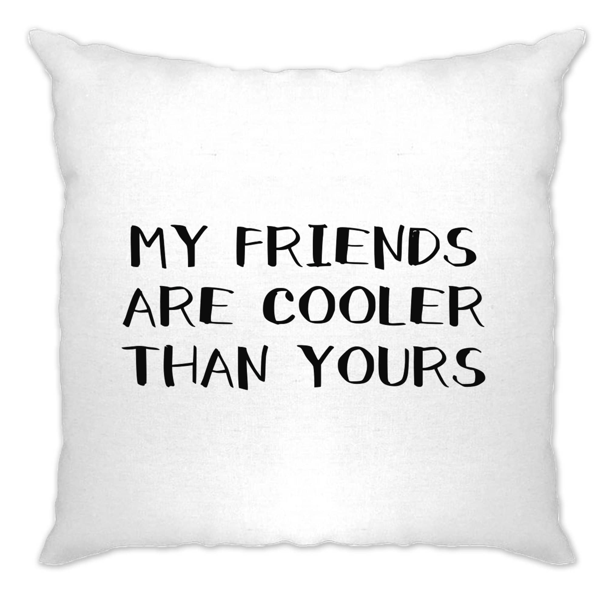 Novelty Cushion Cover My Friends Are Cooler Than Yours Joke