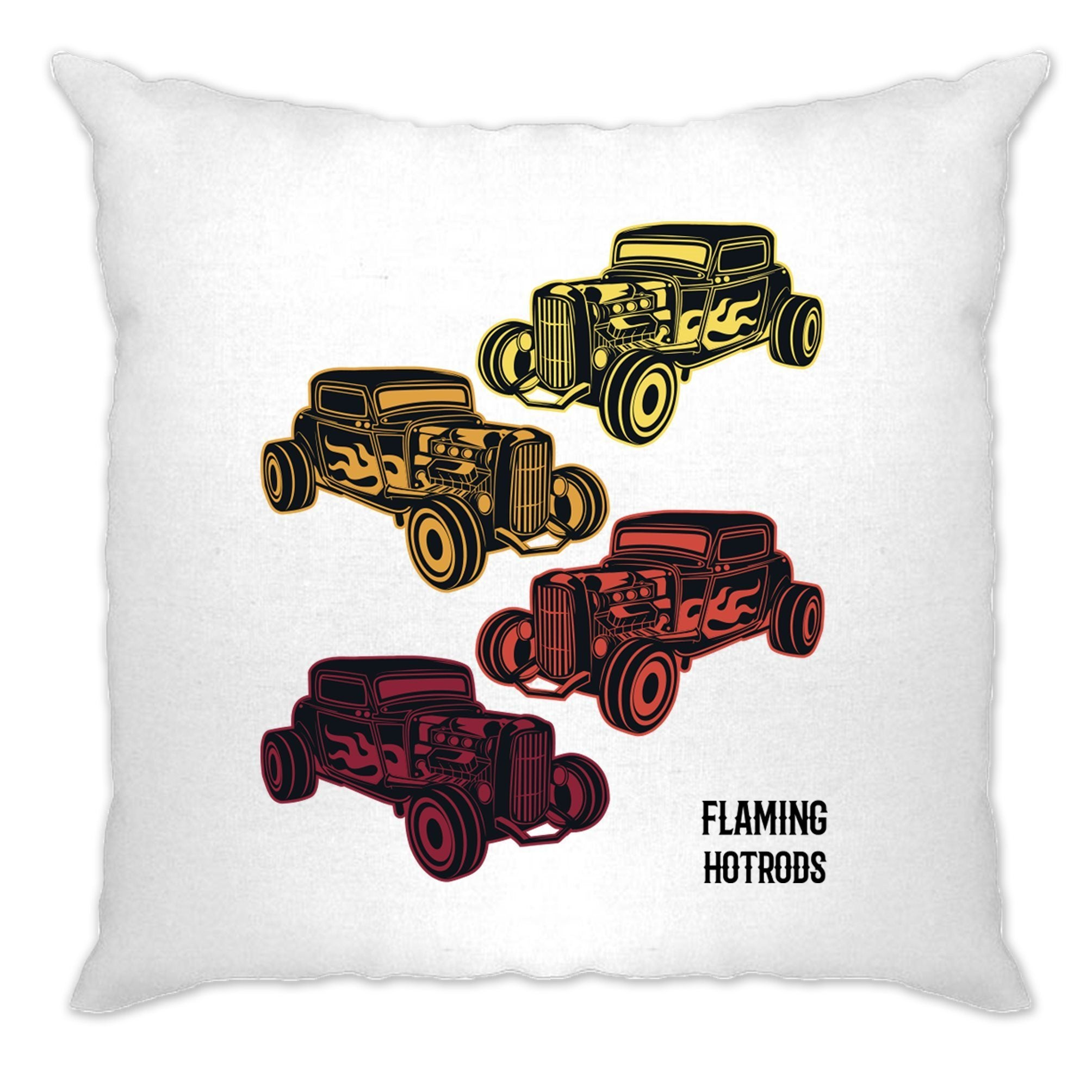 Vintage Cushion Cover Flaming Hot Rods Cars
