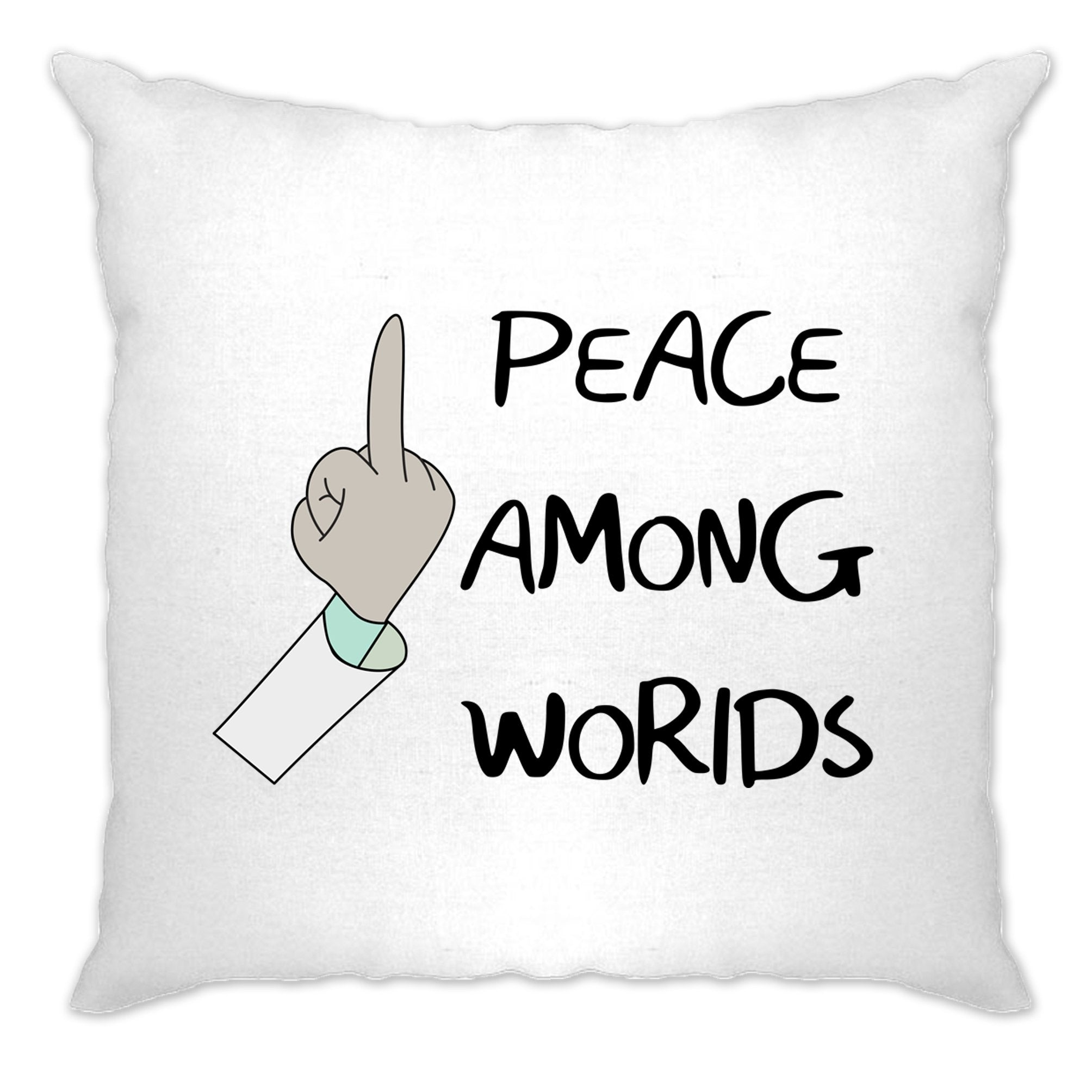 TV Parody Cushion Cover Rude Peace Among Worlds