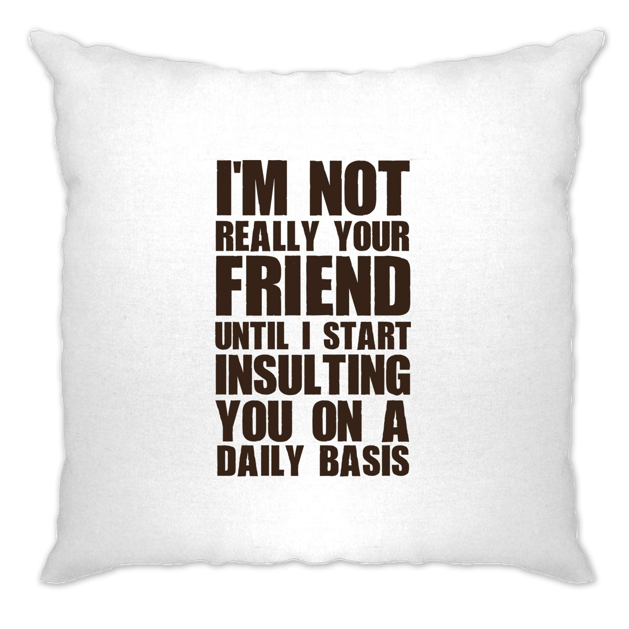 Novelty Cushion Cover I'm Not Your Friend Until I Insult You