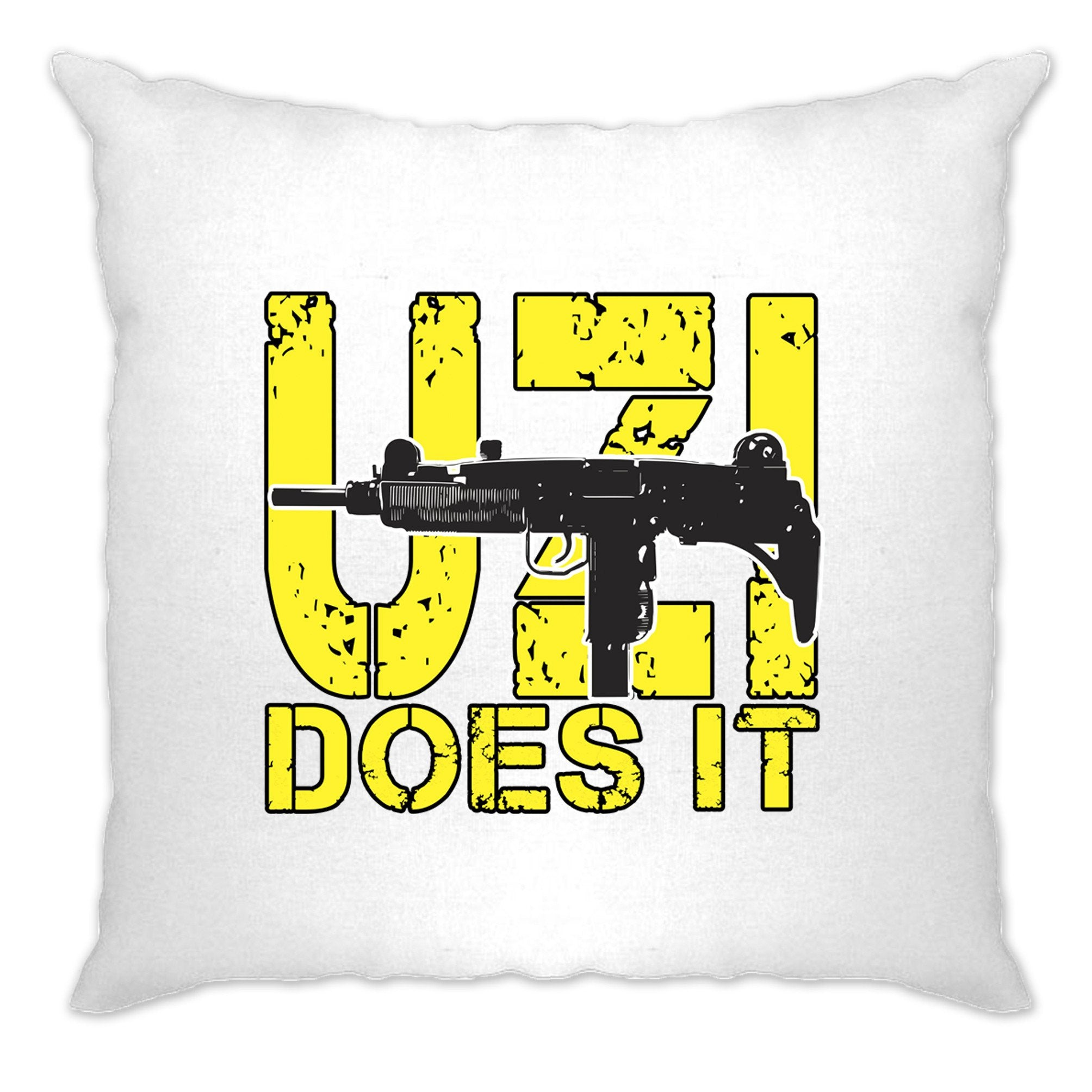 Novelty Shooting Cushion Cover Uzi Does It Slogan