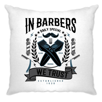 Novelty Cushion Cover In Barbers We Trust Logo