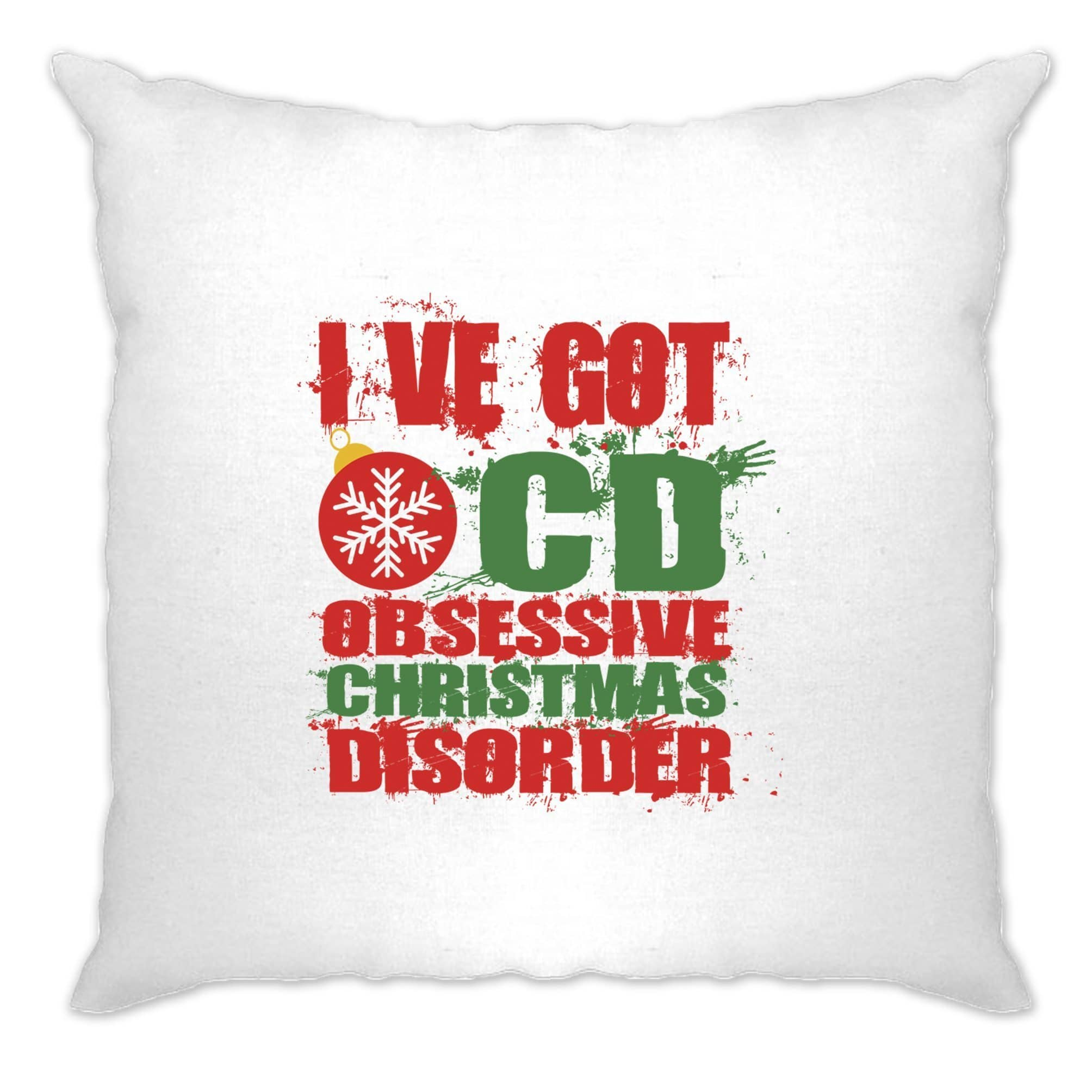 Christmas Cushion Cover Obsessive Xmas Disorder OCD Joke