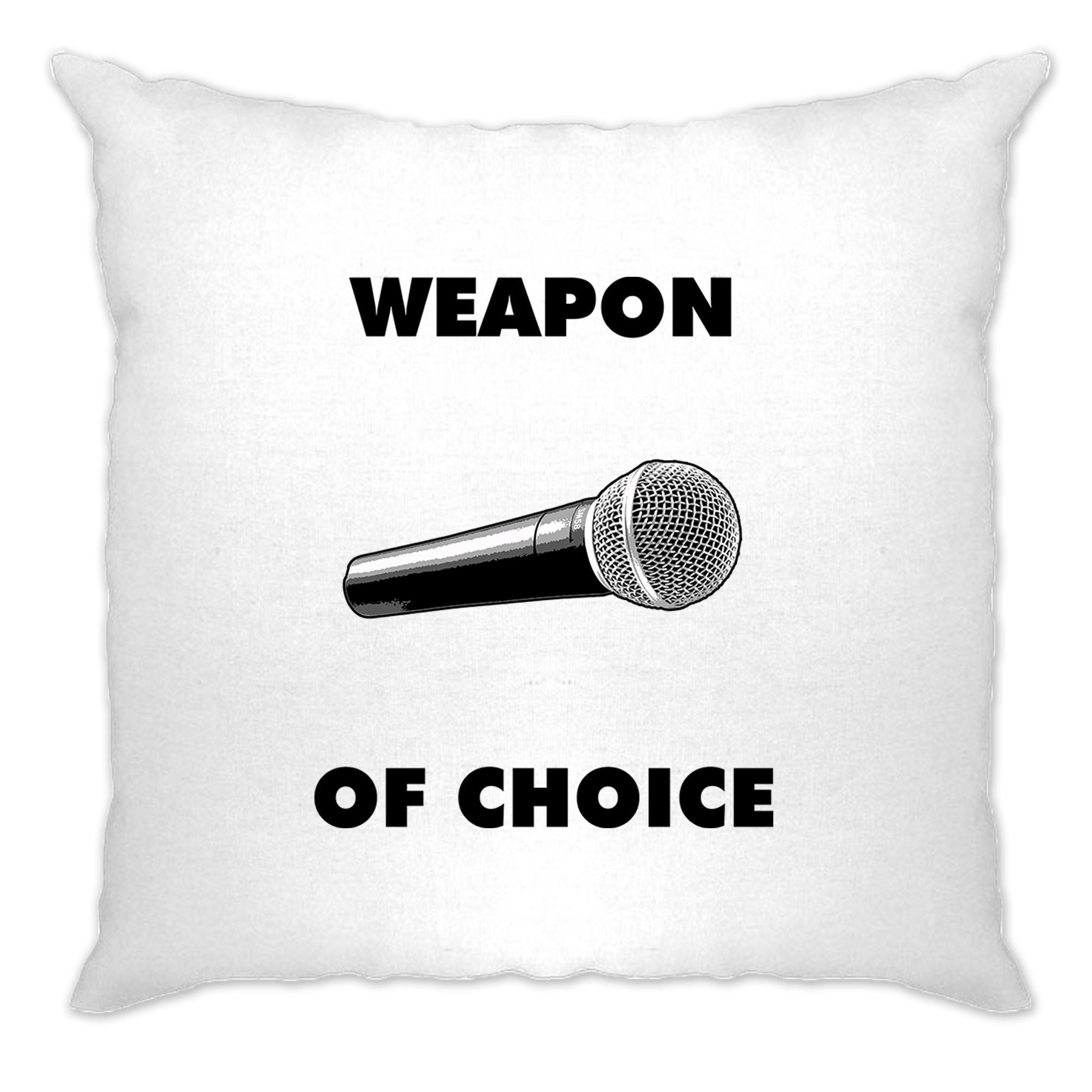 Novelty Music Cushion Cover Weapon of Choice Microphone