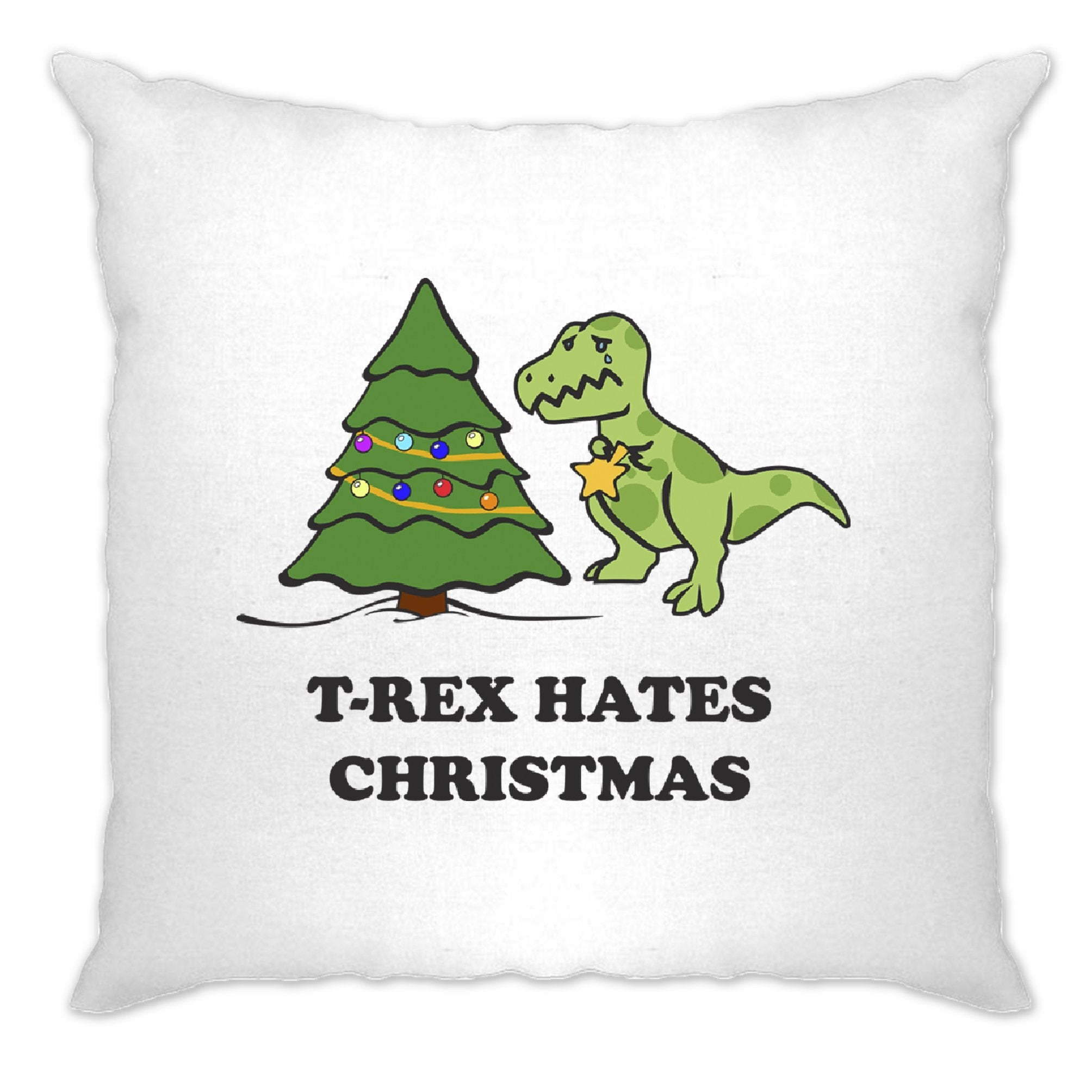 Novelty Xmas Cushion Cover T-Rex Hates Christmas Joke
