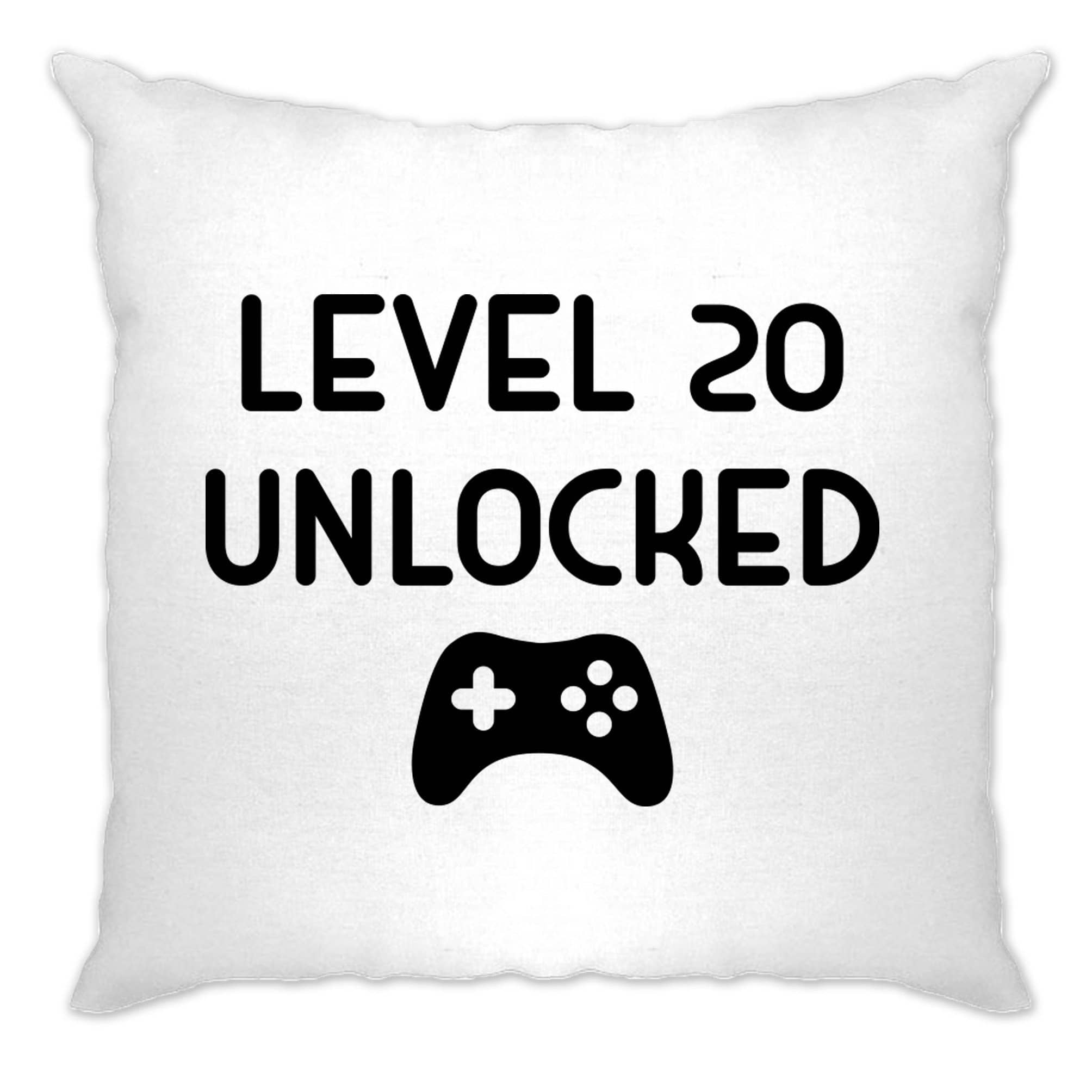 20th Birthday Gamer Cushion Cover Level 20 Unlocked Slogan