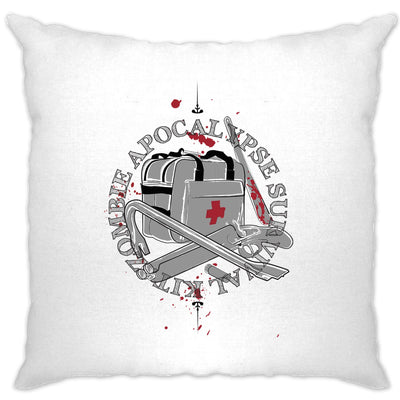 Zombie Apocalypse Cushion Cover Survival Kit Logo