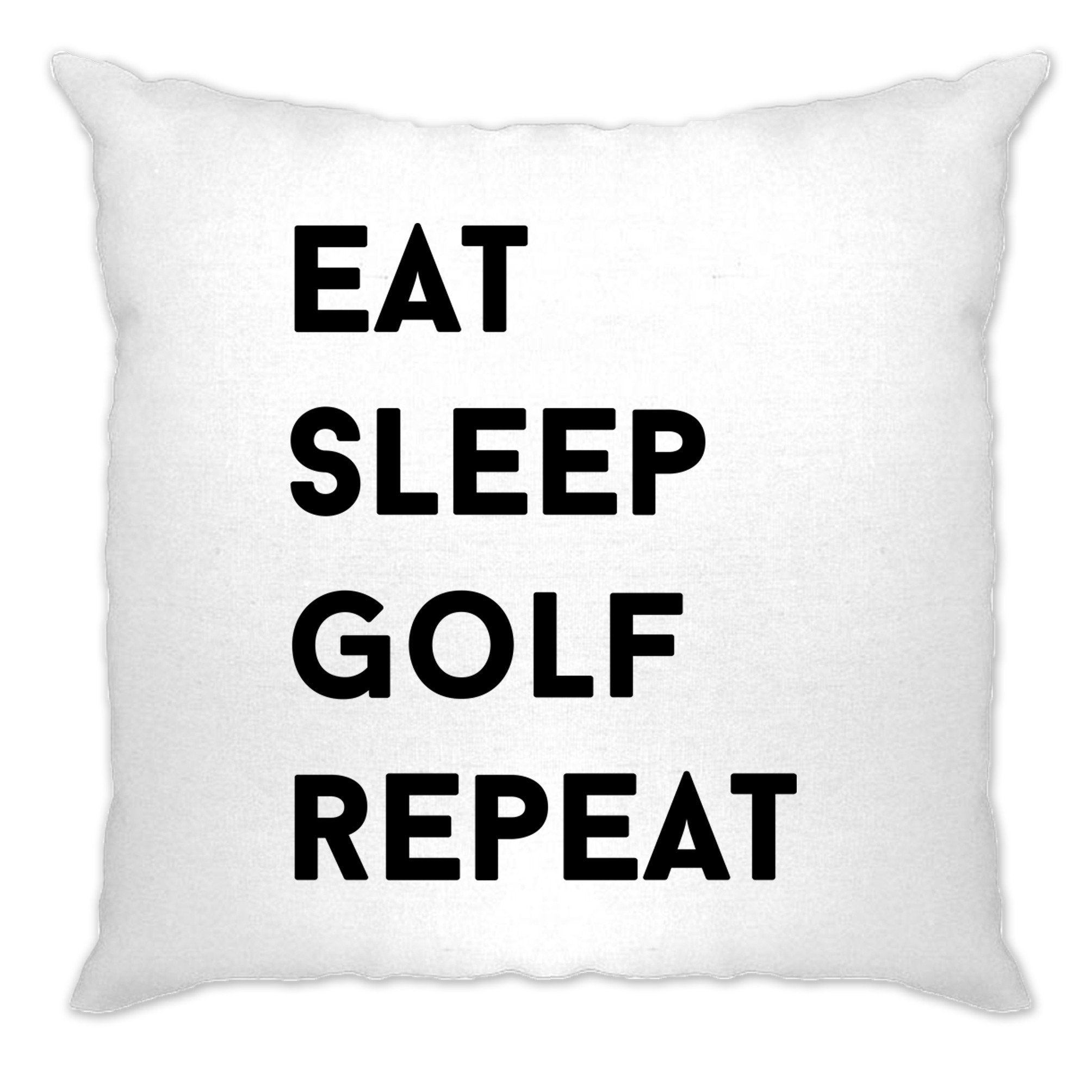 Sports Cushion Cover Eat, Sleep, Golf, Repeat Slogan