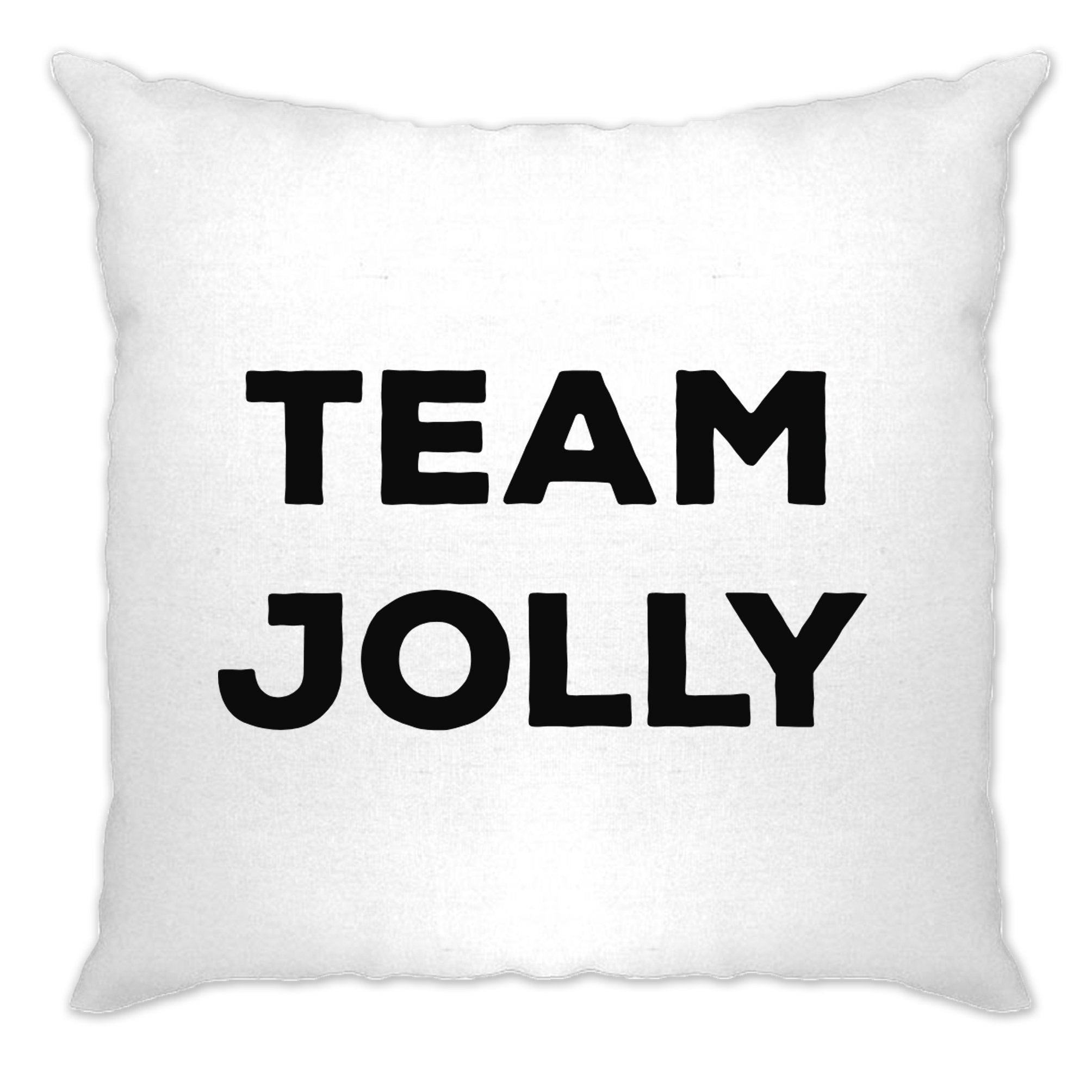 Novelty Christmas Cushion Cover Team Jolly Slogan