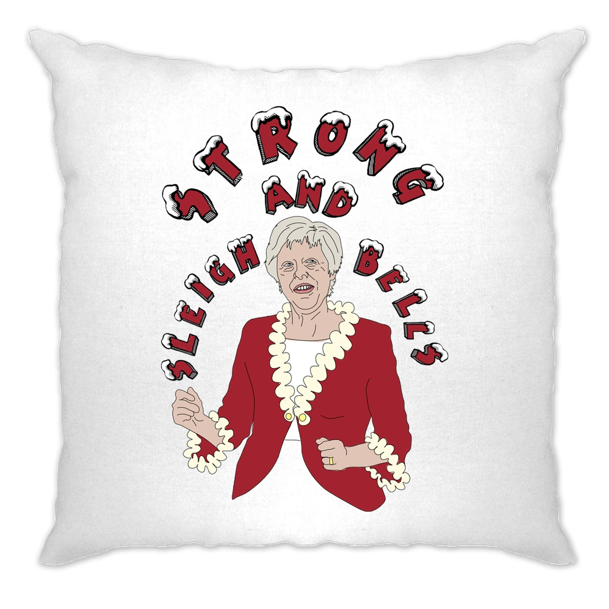 Novelty Xmas Cushion Cover Festive Theresa May Joke