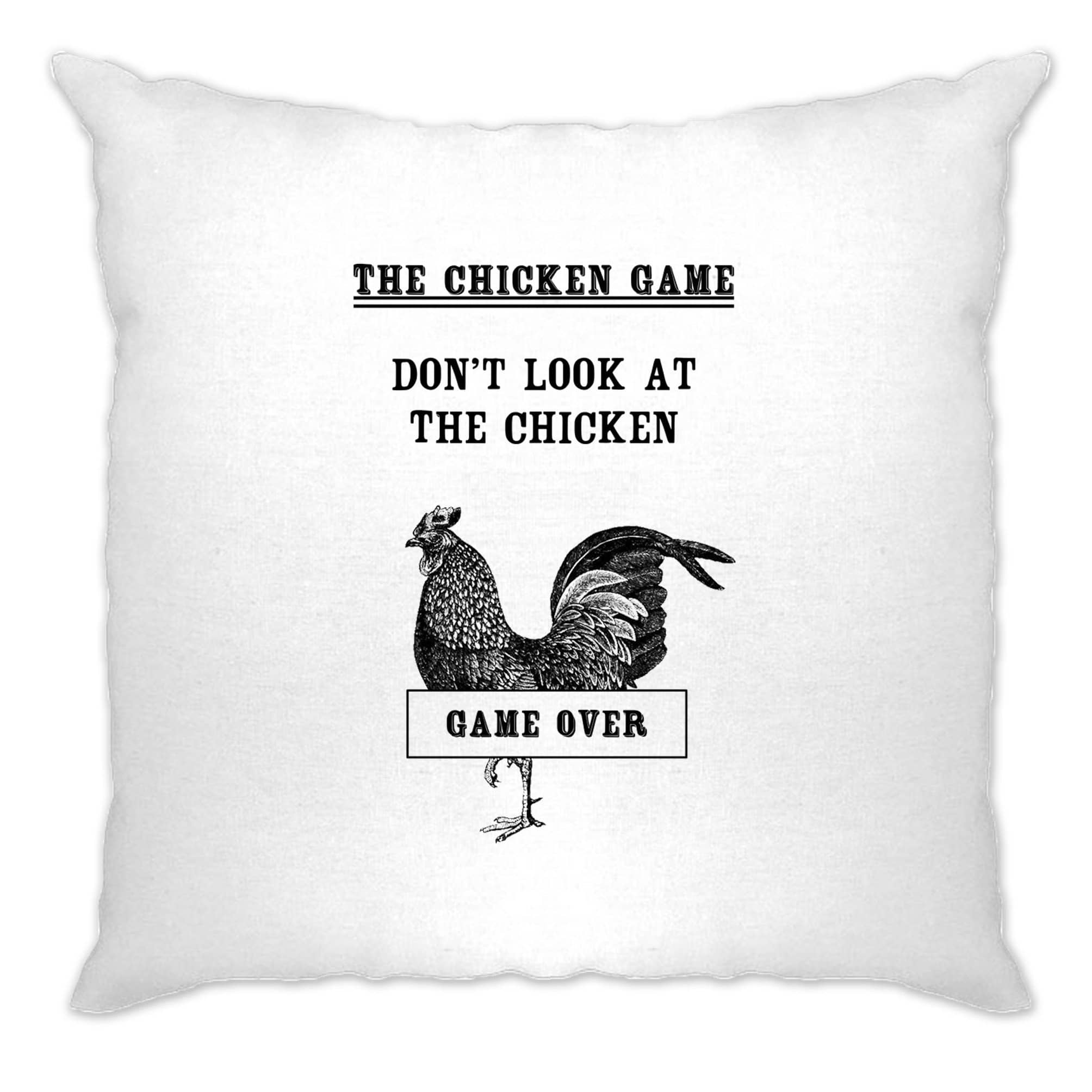 Novelty Cushion Cover Don't Look At The Chicken Game Joke