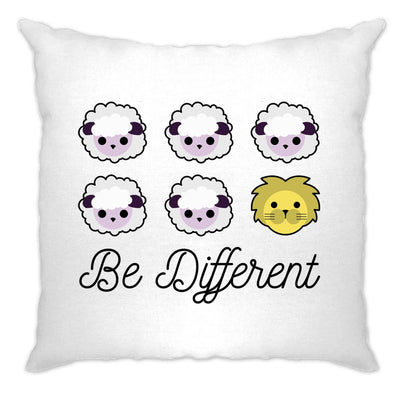 Novelty Cushion Cover Be Different Cartoon Sheep Slogan