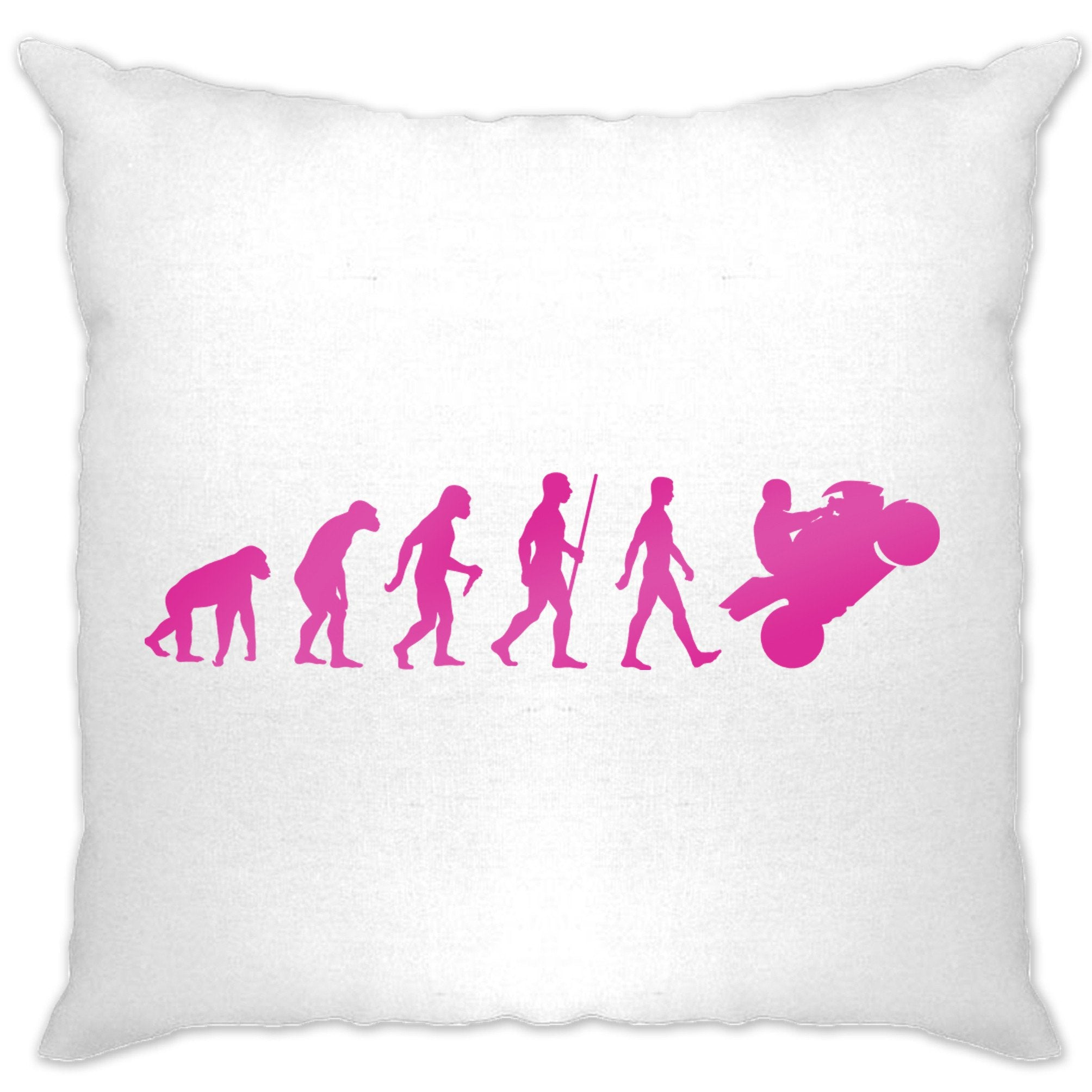Motorcycle Cushion Cover Neon Pink Evolution of a Biker