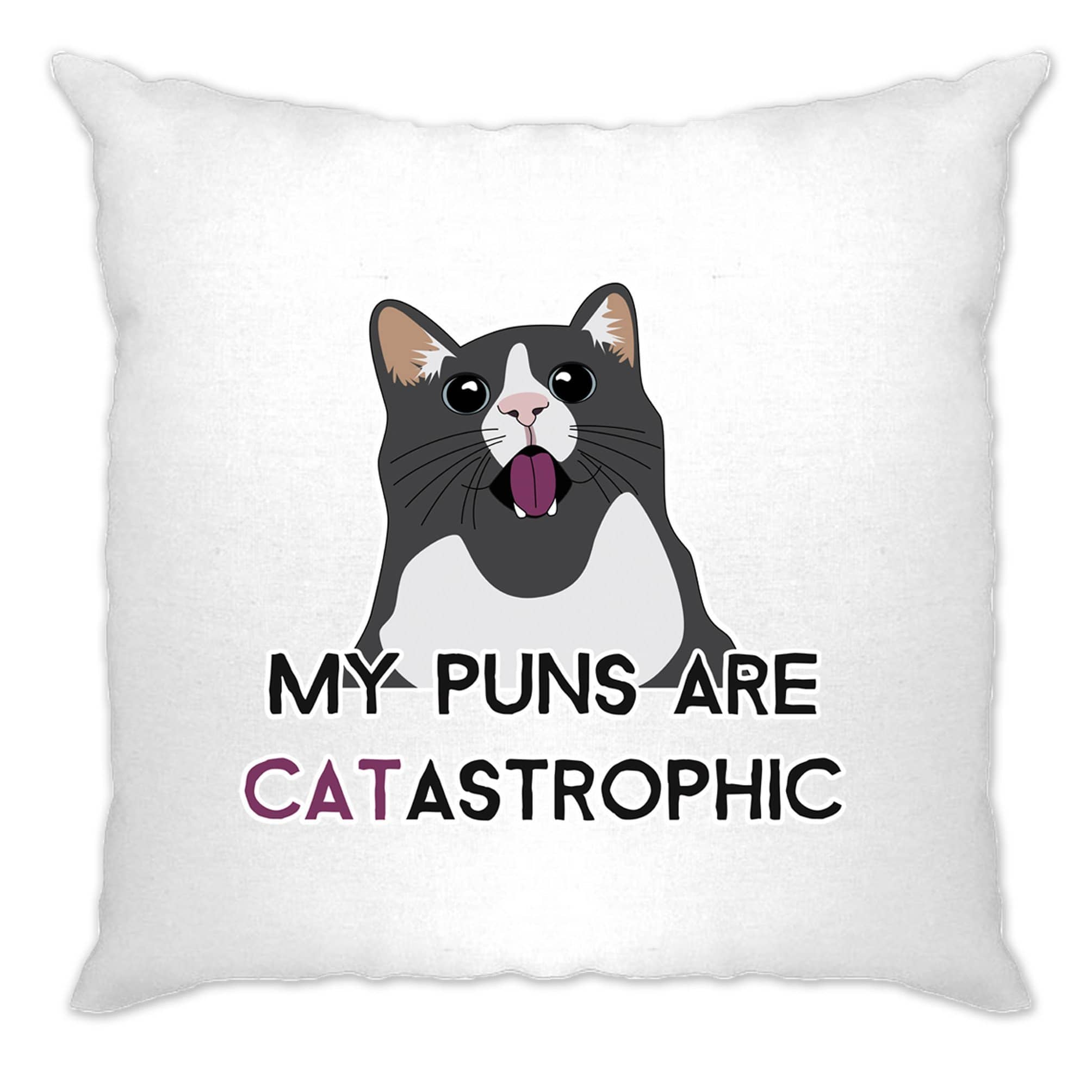 Novelty Cat Cushion Cover My Puns Are Catastrophic Joke