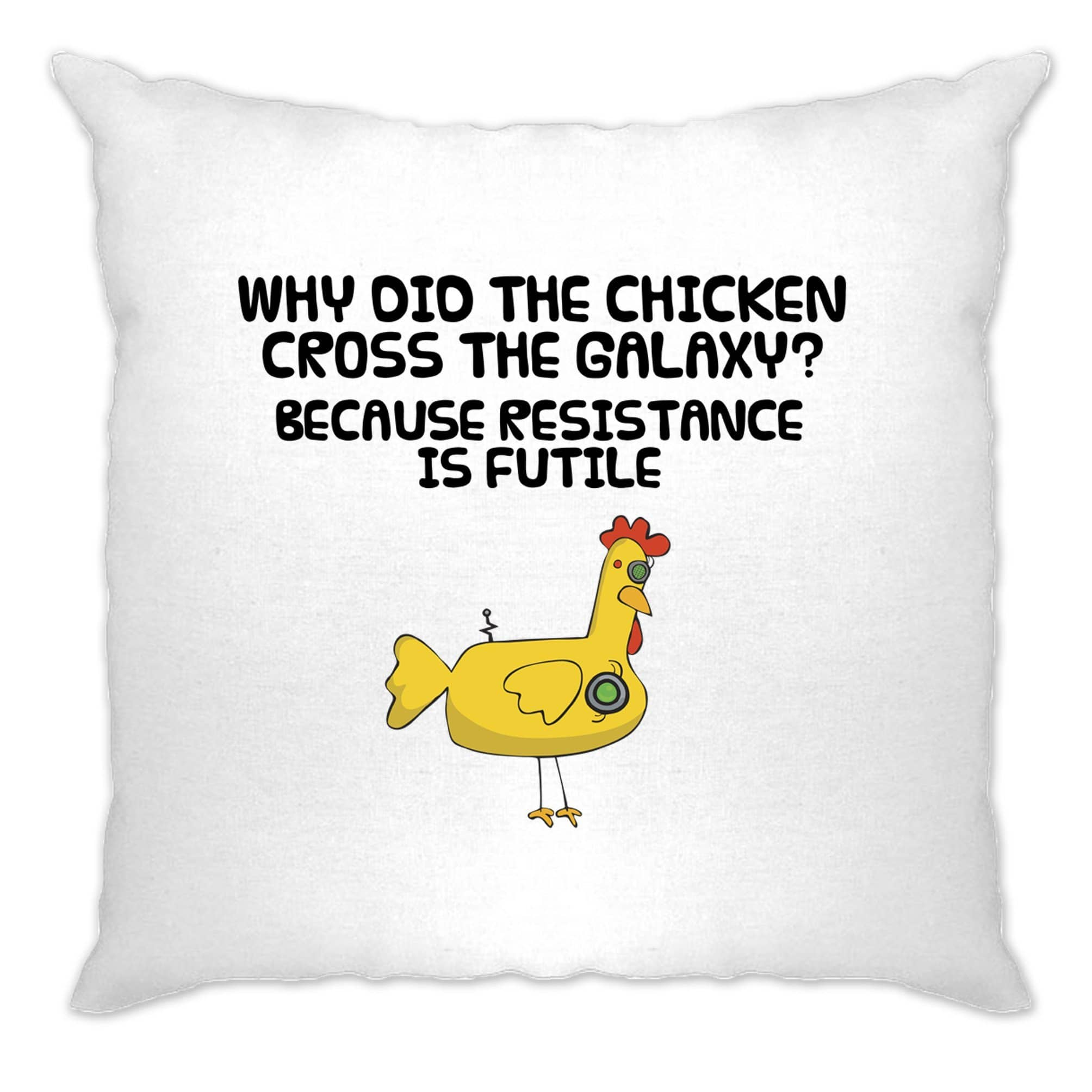 Novelty Cushion Cover Why Did The Chicken Cross The Galaxy