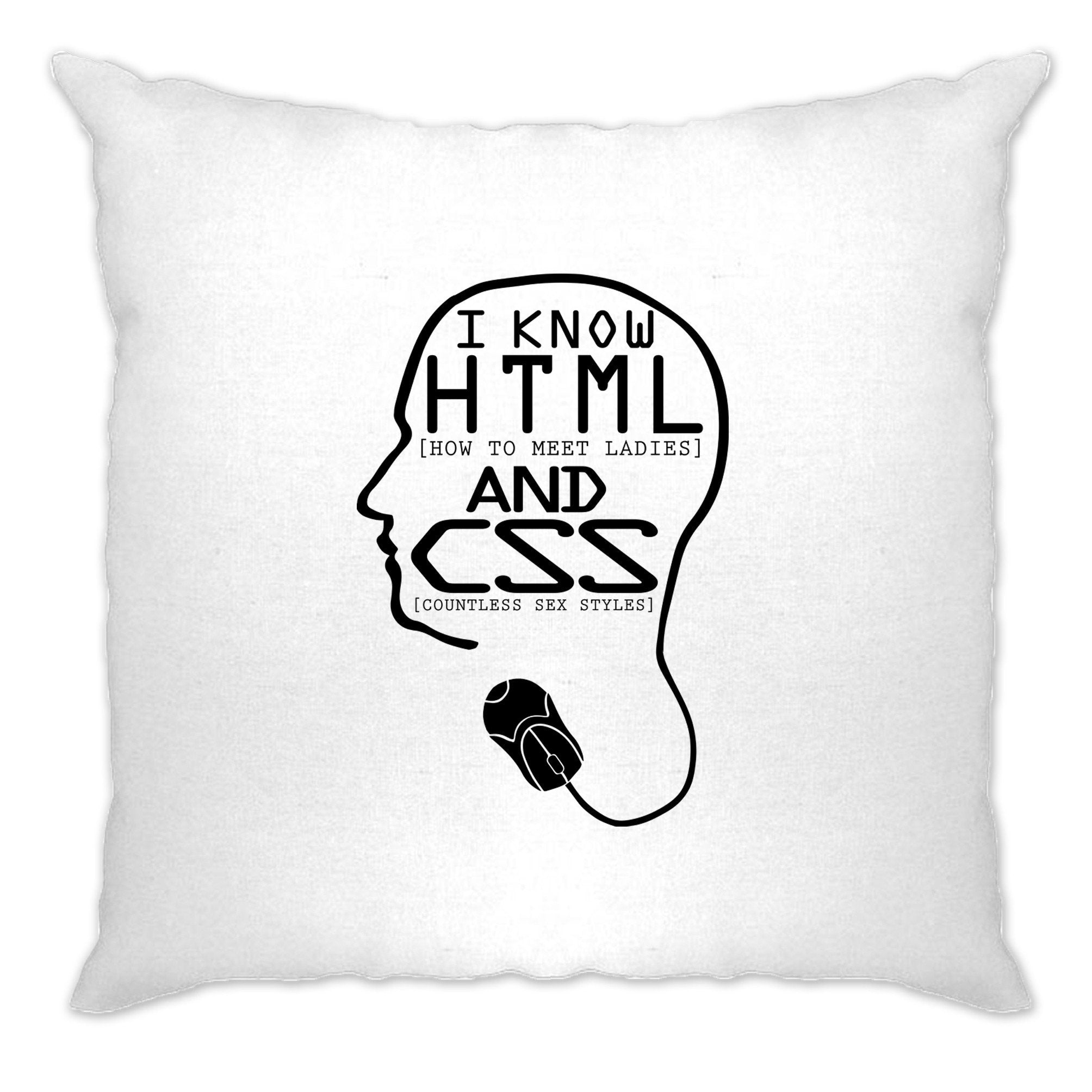 Nerdy Cushion Cover I Know HTML And CSS Pickup Line