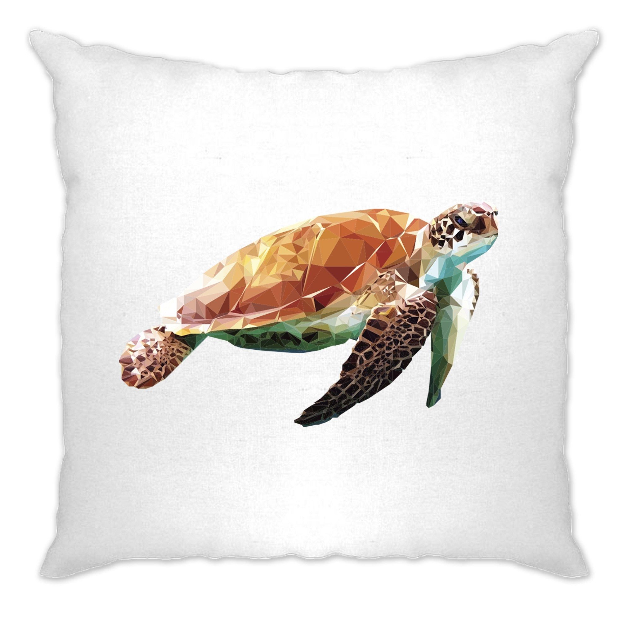 Sea Life Art Cushion Cover Low Poly Turtle Graphic