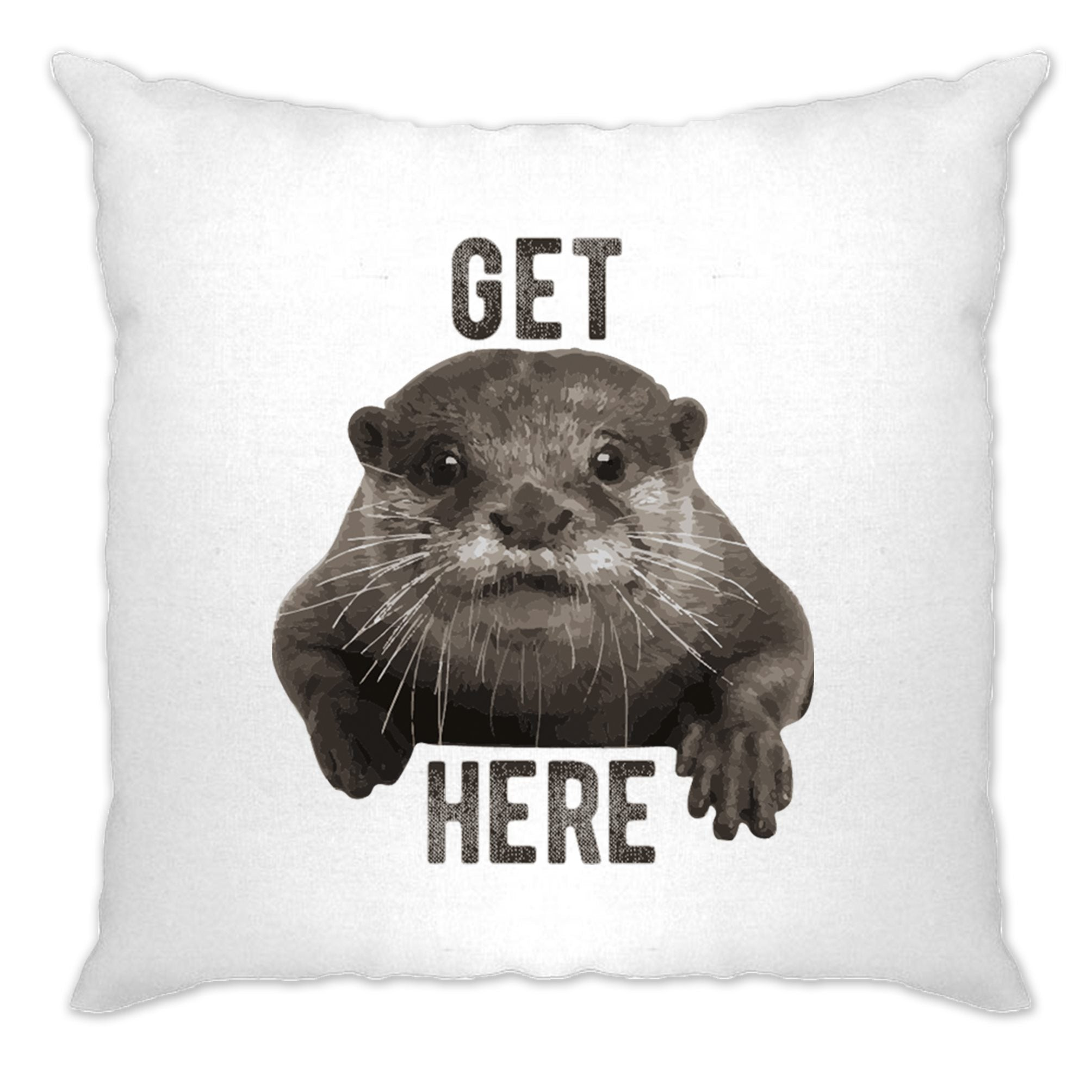 Novelty Animal Cushion Cover Get Otter Here Pun