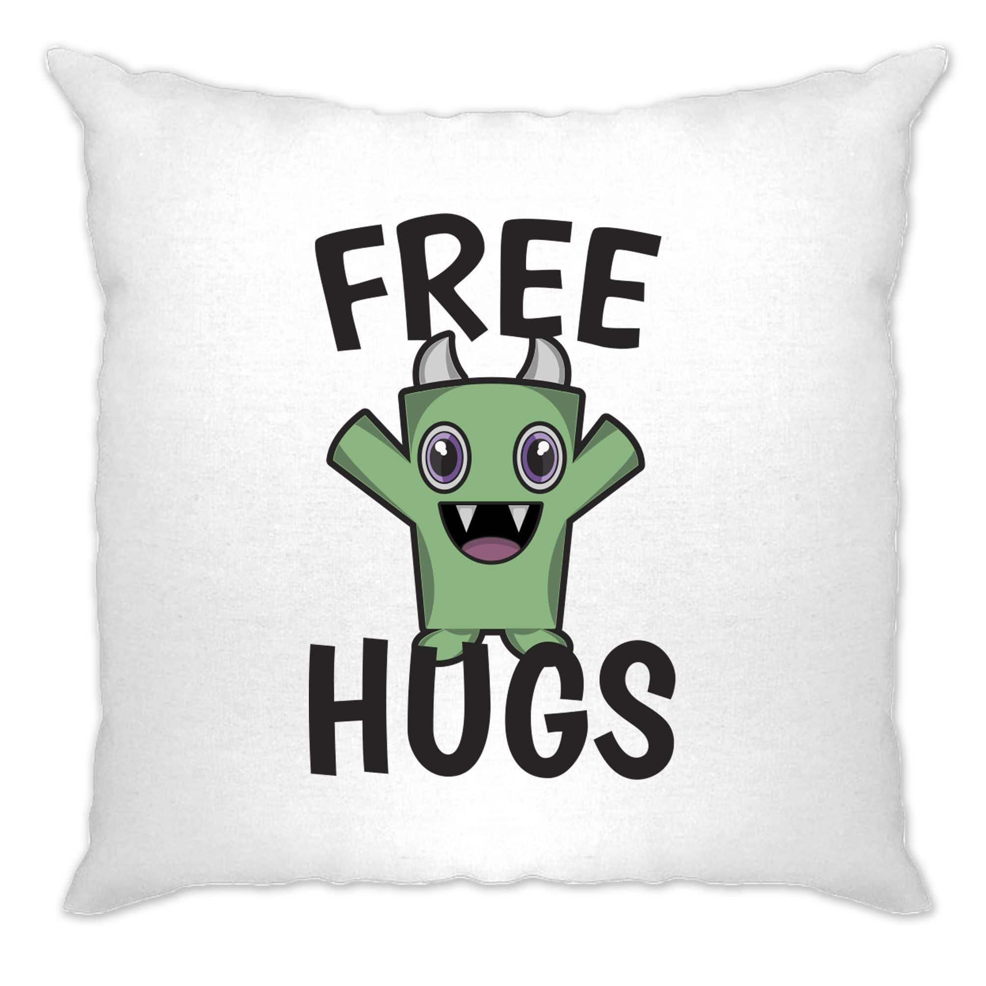 Festival Cushion Cover Free Hugs Slogan With Cute Monster
