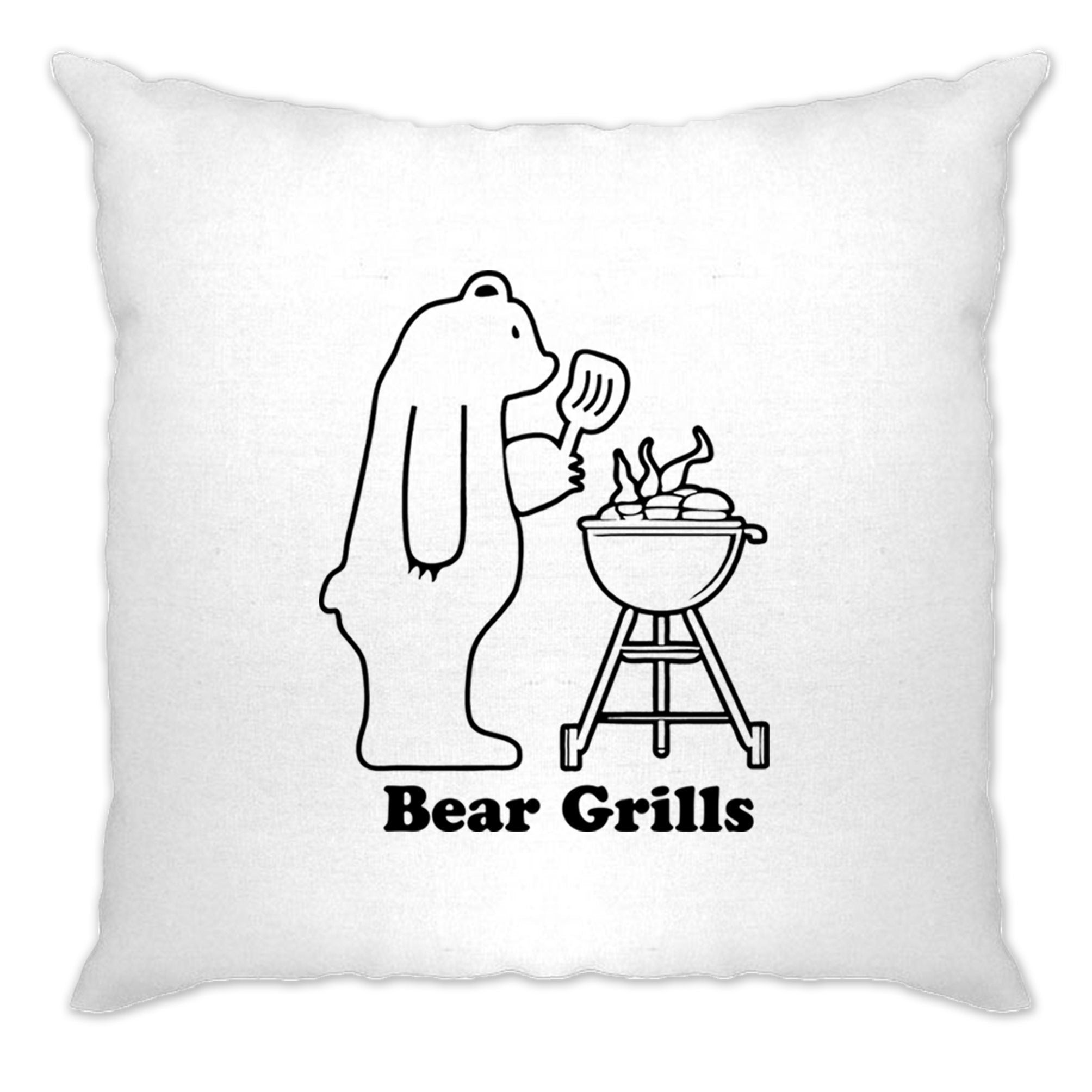 Novelty Barbecue Cushion Cover Grilling Bear Grills Joke