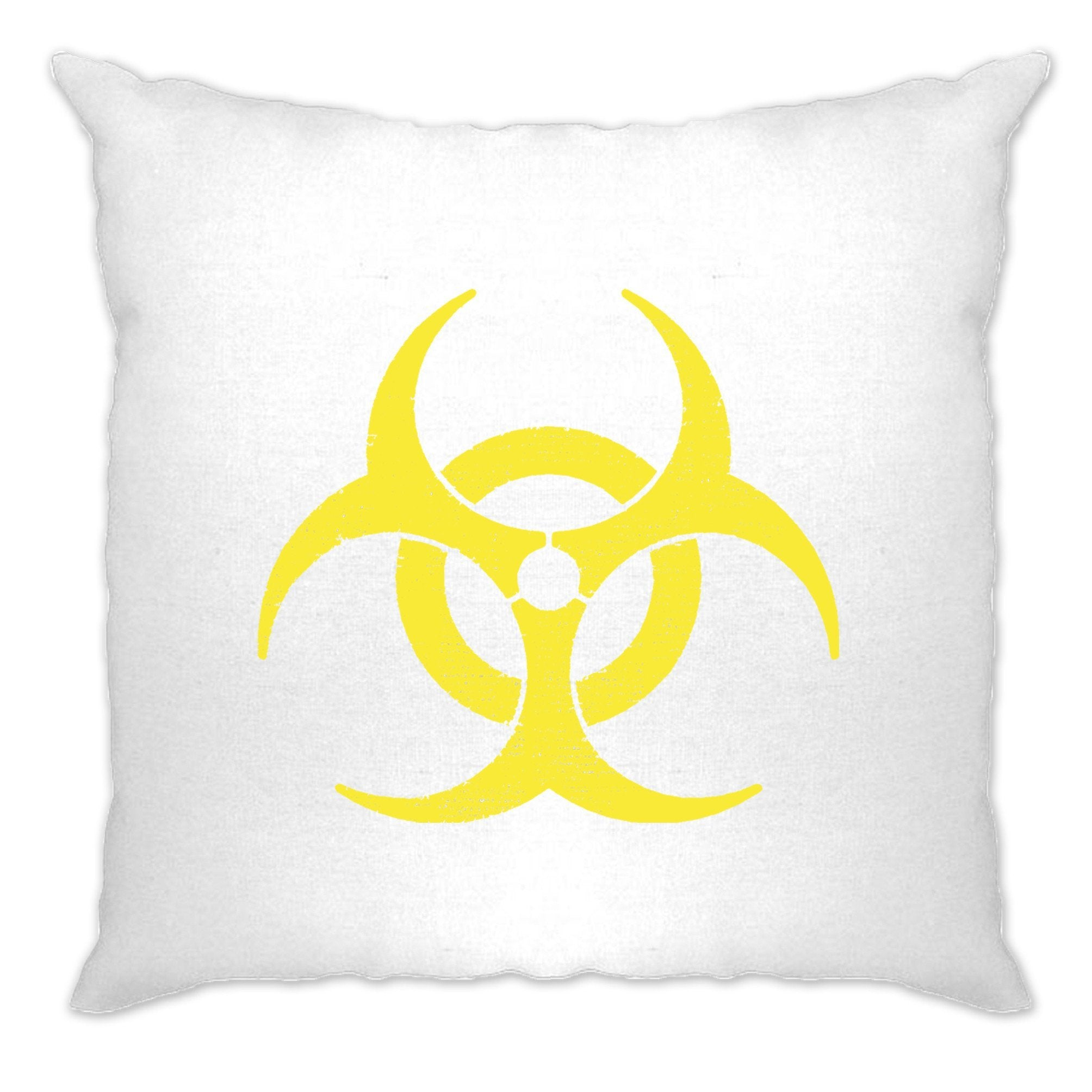 Warning Logo Cushion Cover Biohazard Symbol