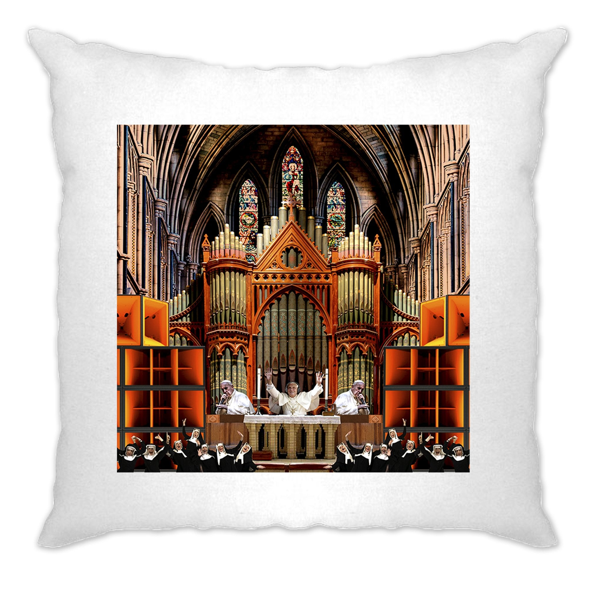 Rave Cushion Cover Nun And Bass Party Collage