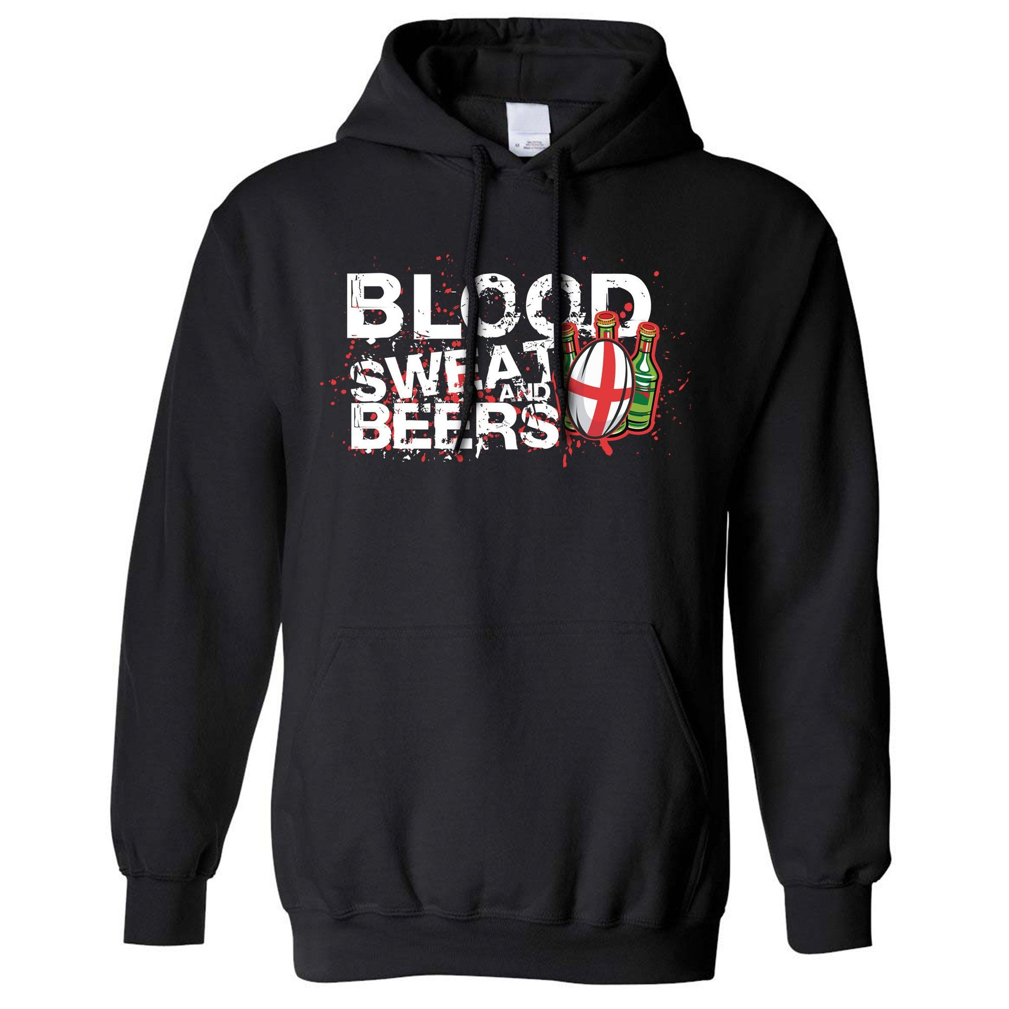 England Rugby Supporter Hoodie Blood, Sweat And Beers Hooded Jumper