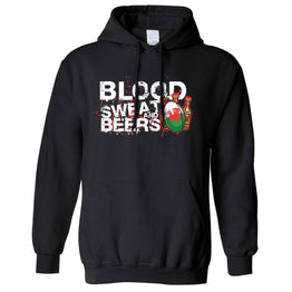 Sports Unisex Hoodie Blood, Sweat And Beers Rugby Ball