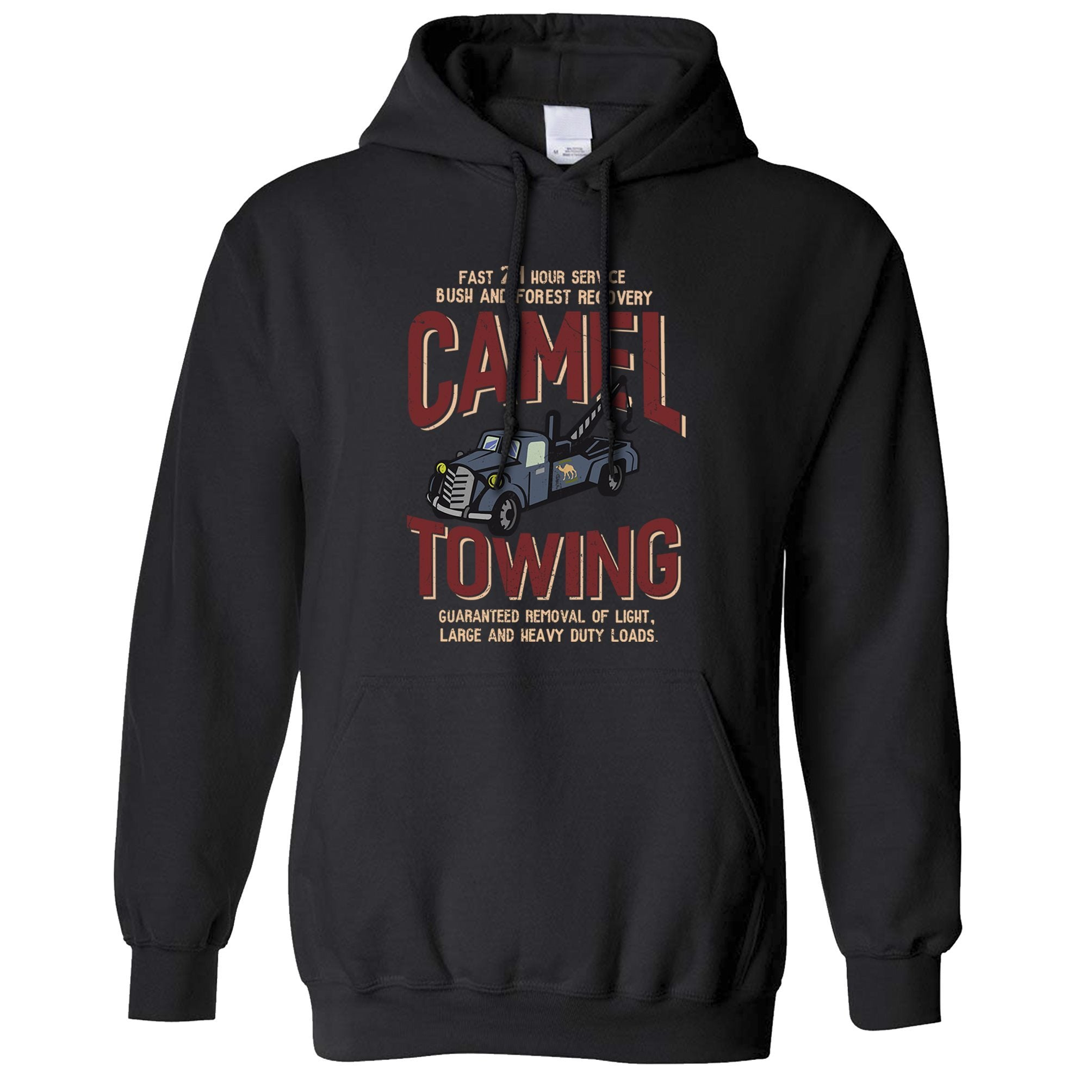 Novelty Mechanic Hoodie Camel Towing Car Recovery Hooded Jumper
