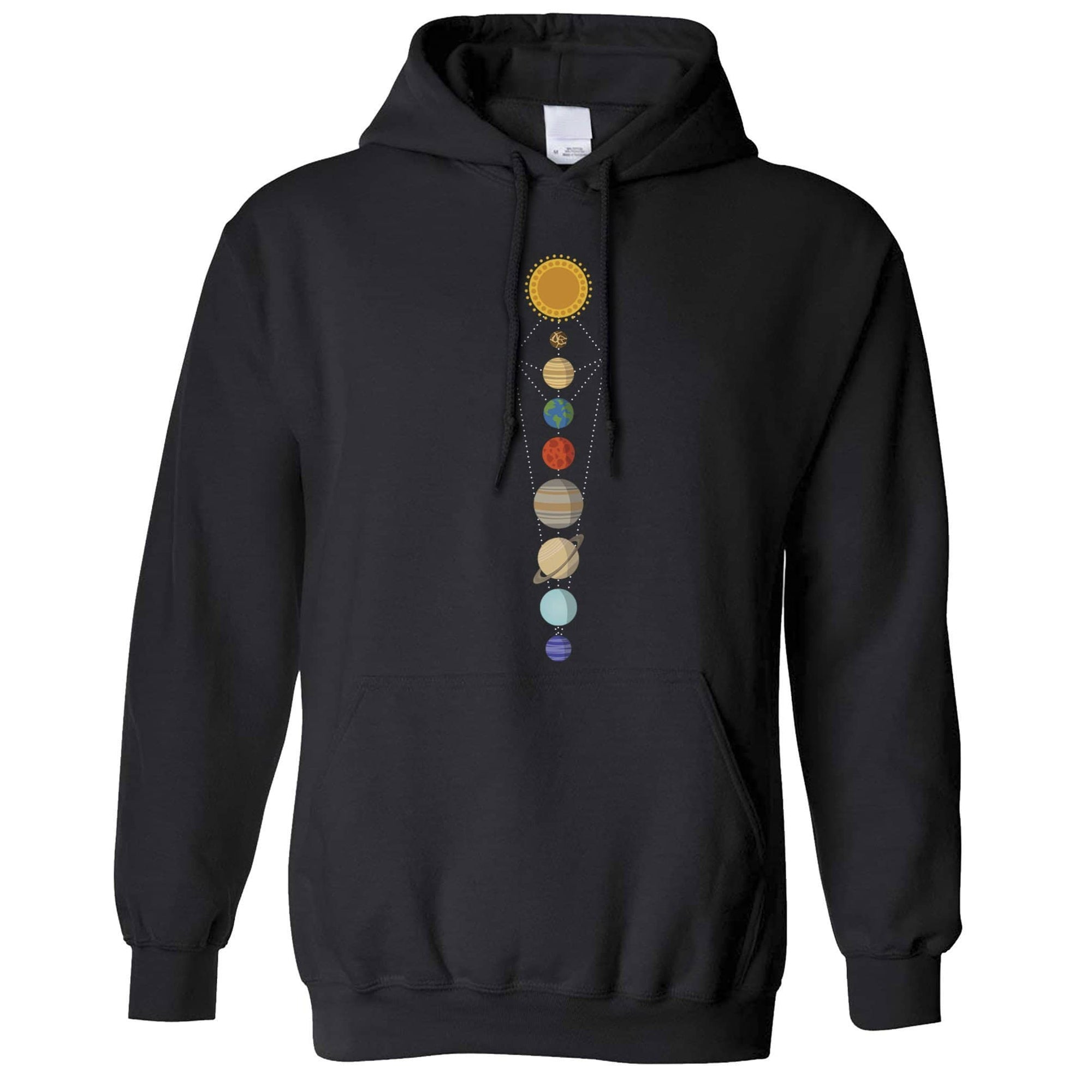 Cool Nerdy Hoodie Geometric Solar System Space Art Hooded Jumper