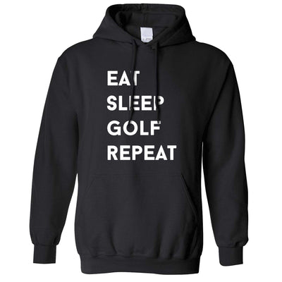 Sports Hoodie Eat, Sleep, Golf, Repeat Slogan Hooded Jumper
