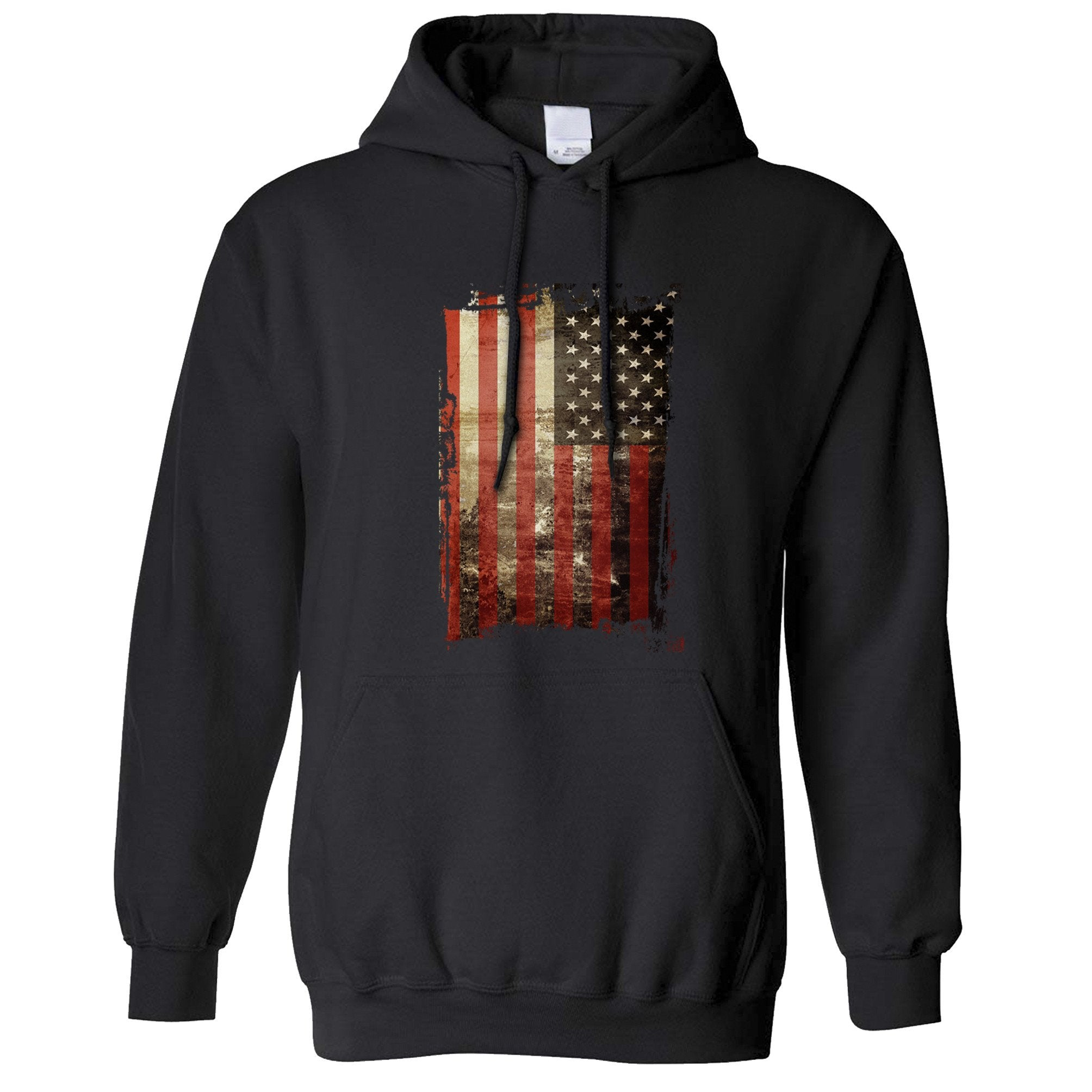 4th Of July Hoodie Distressed USA American Flag Art Hooded Jumper