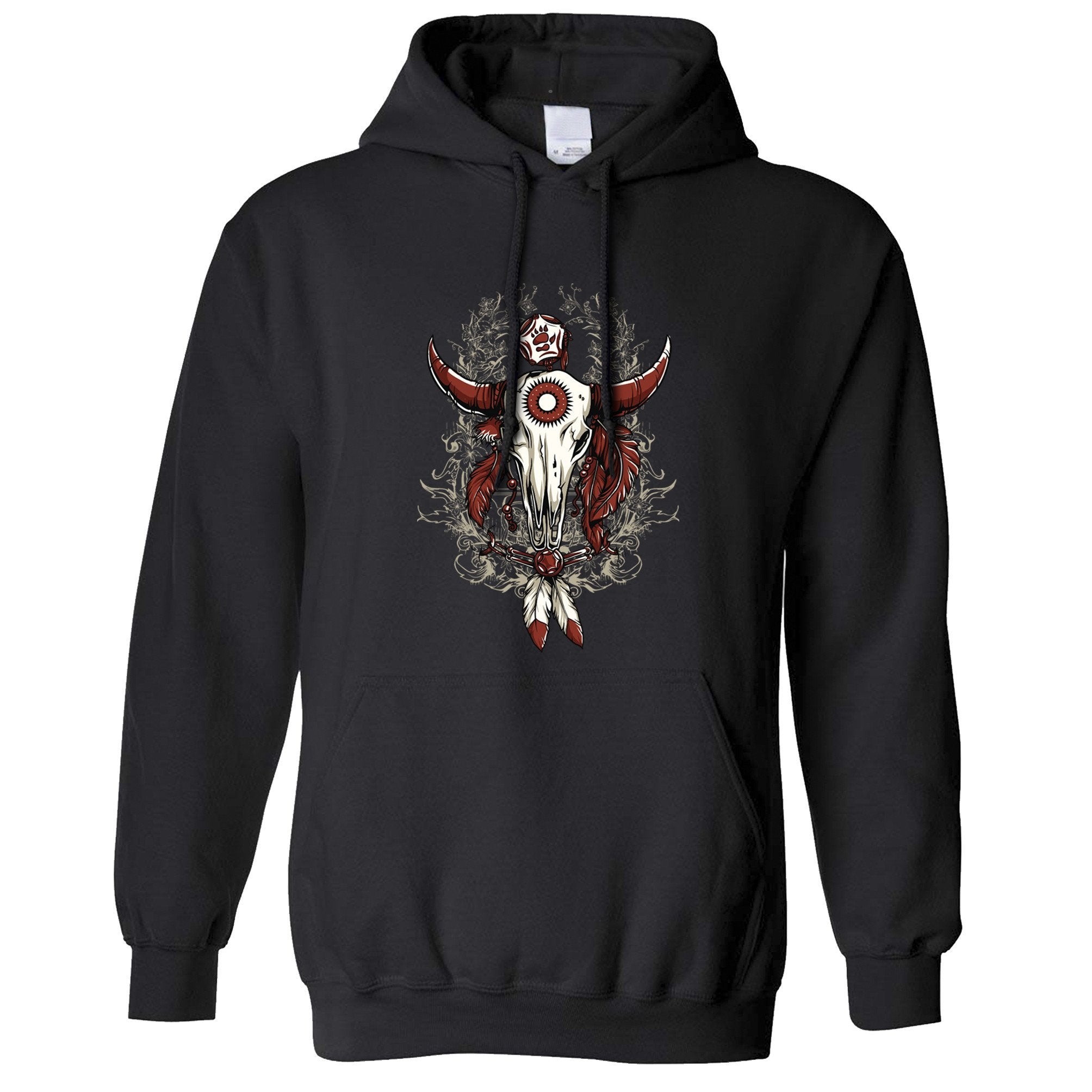 Native American Art Hoodie Bull Skull and Feathers Hooded Jumper