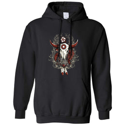 Native American Bull Skull Feather Design Aboriginies Hoodie